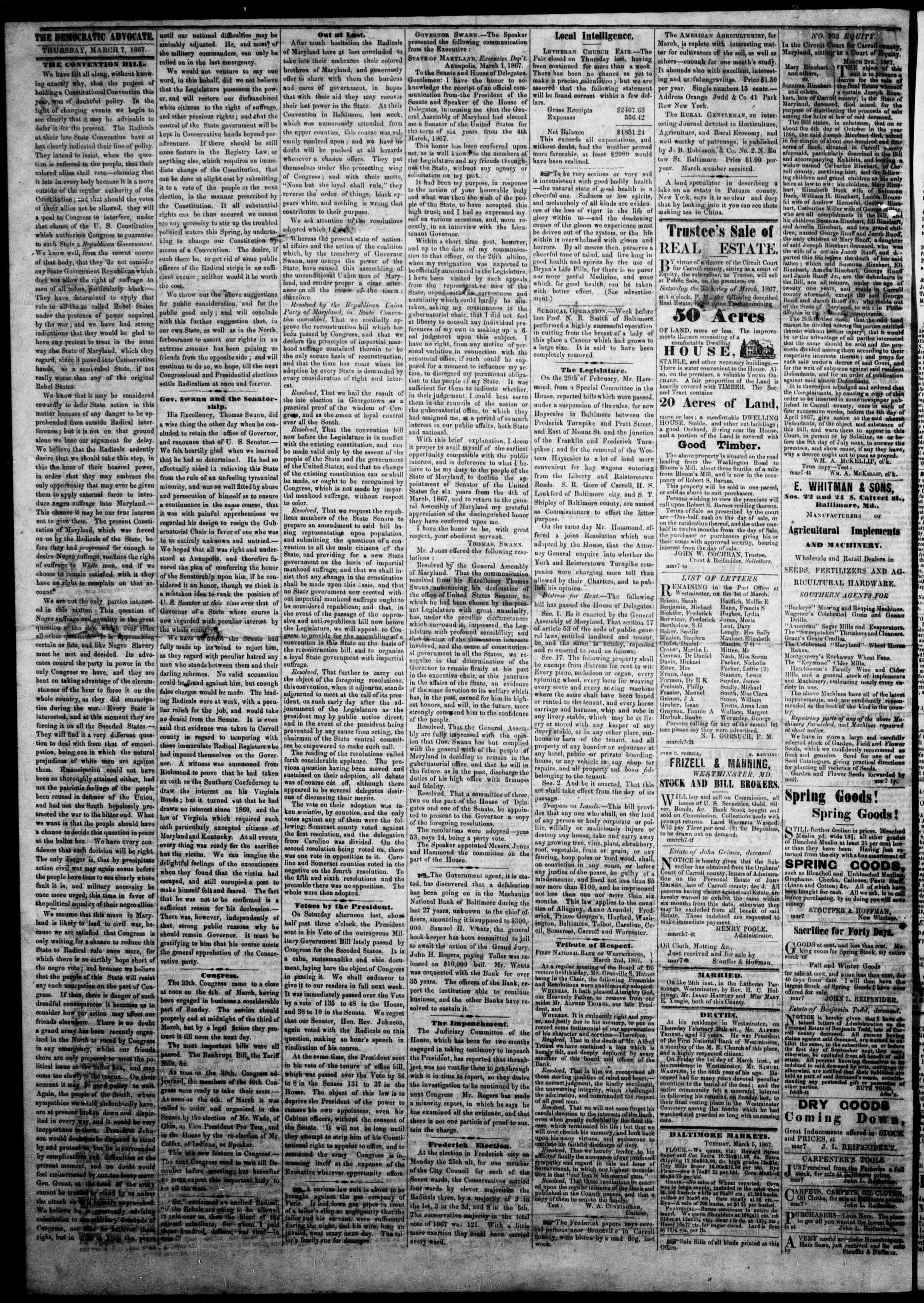 Newspaper of The Democratic Advocate dated March 7, 1867 Page 2