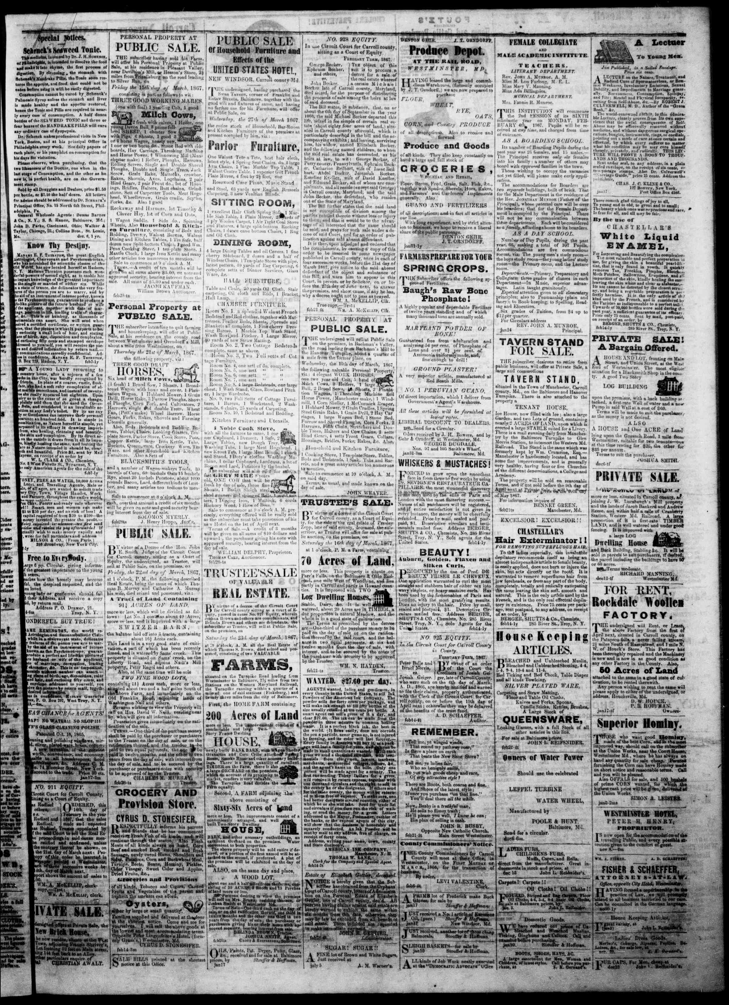 Newspaper of The Democratic Advocate dated March 7, 1867 Page 3