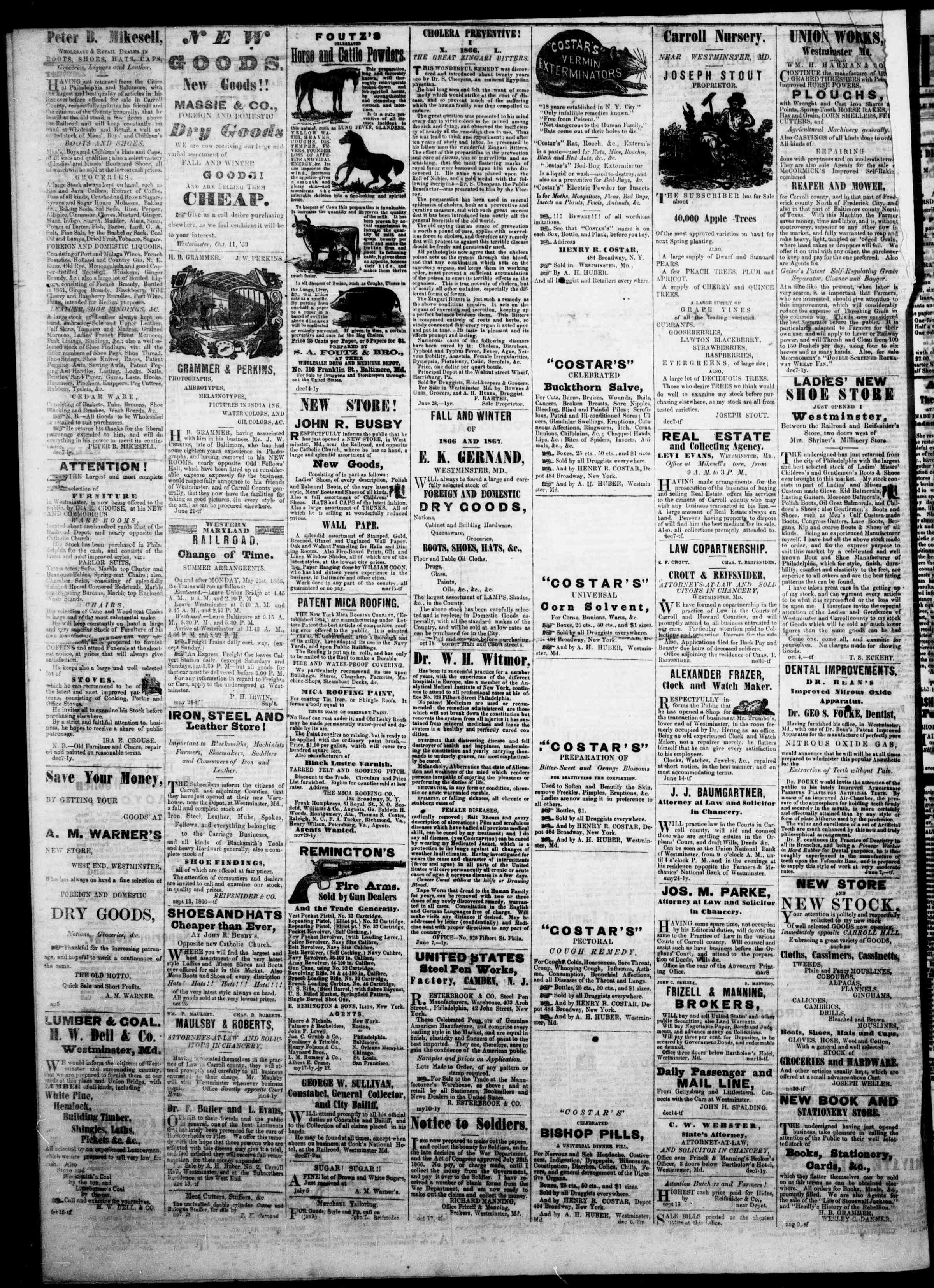 Newspaper of The Democratic Advocate dated March 7, 1867 Page 4