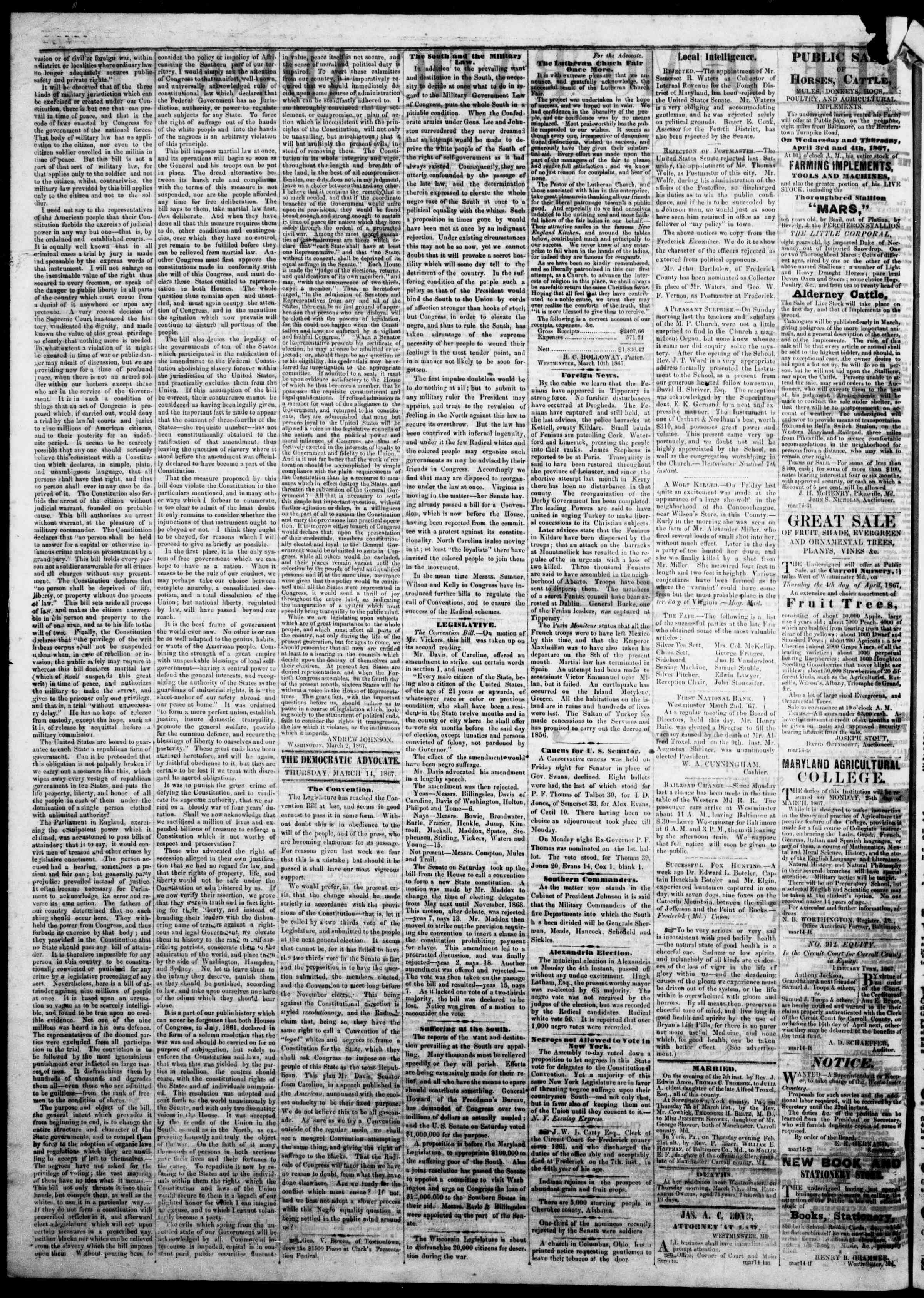 Newspaper of The Democratic Advocate dated March 14, 1867 Page 2