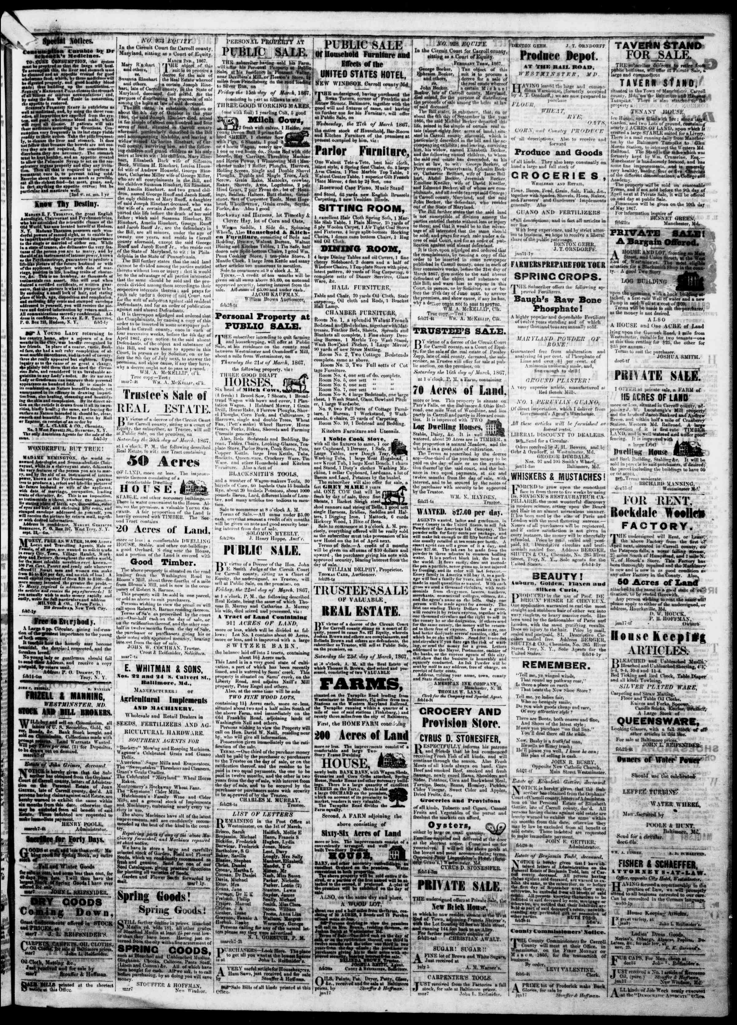 Newspaper of The Democratic Advocate dated March 14, 1867 Page 3