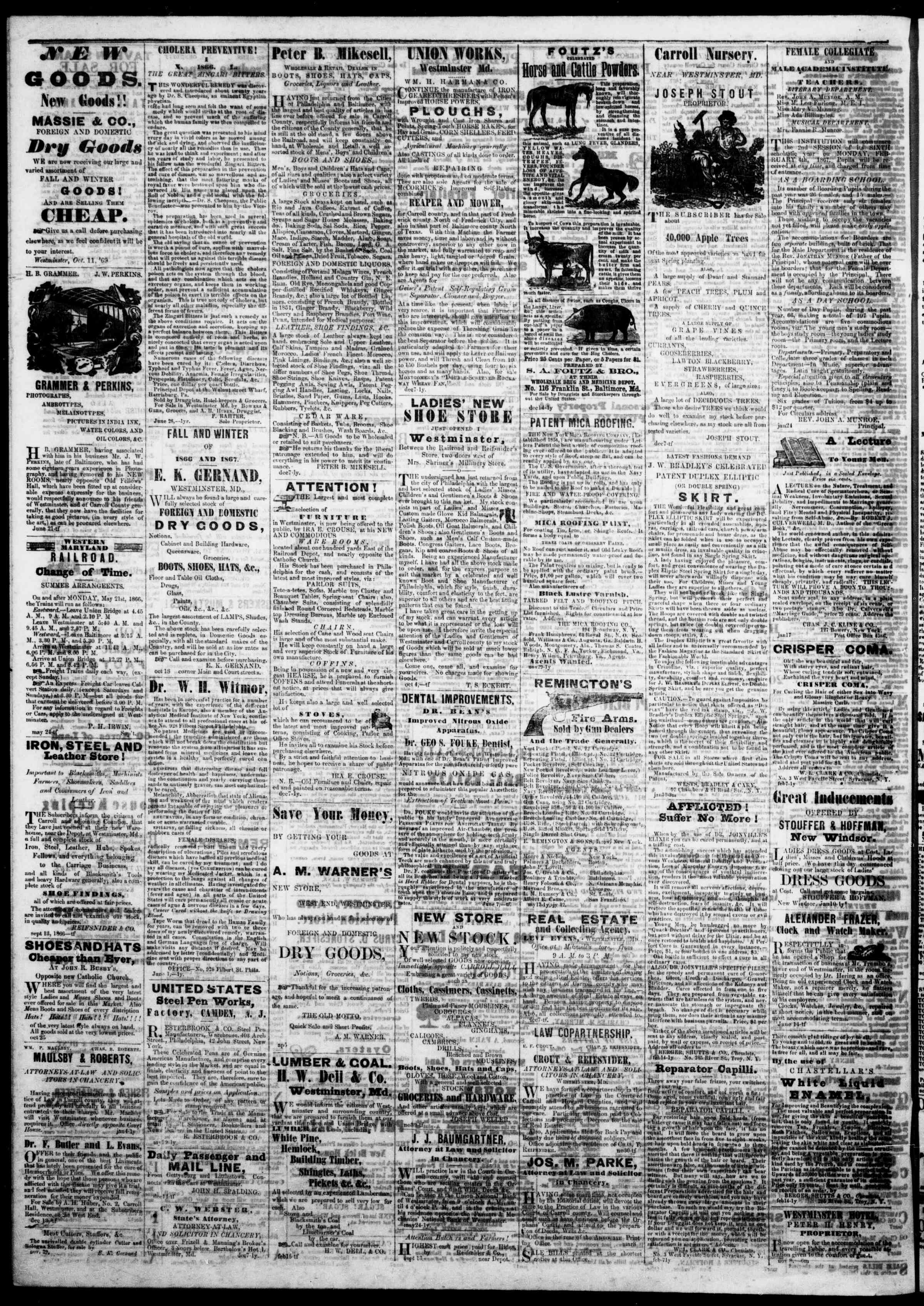 Newspaper of The Democratic Advocate dated March 14, 1867 Page 4