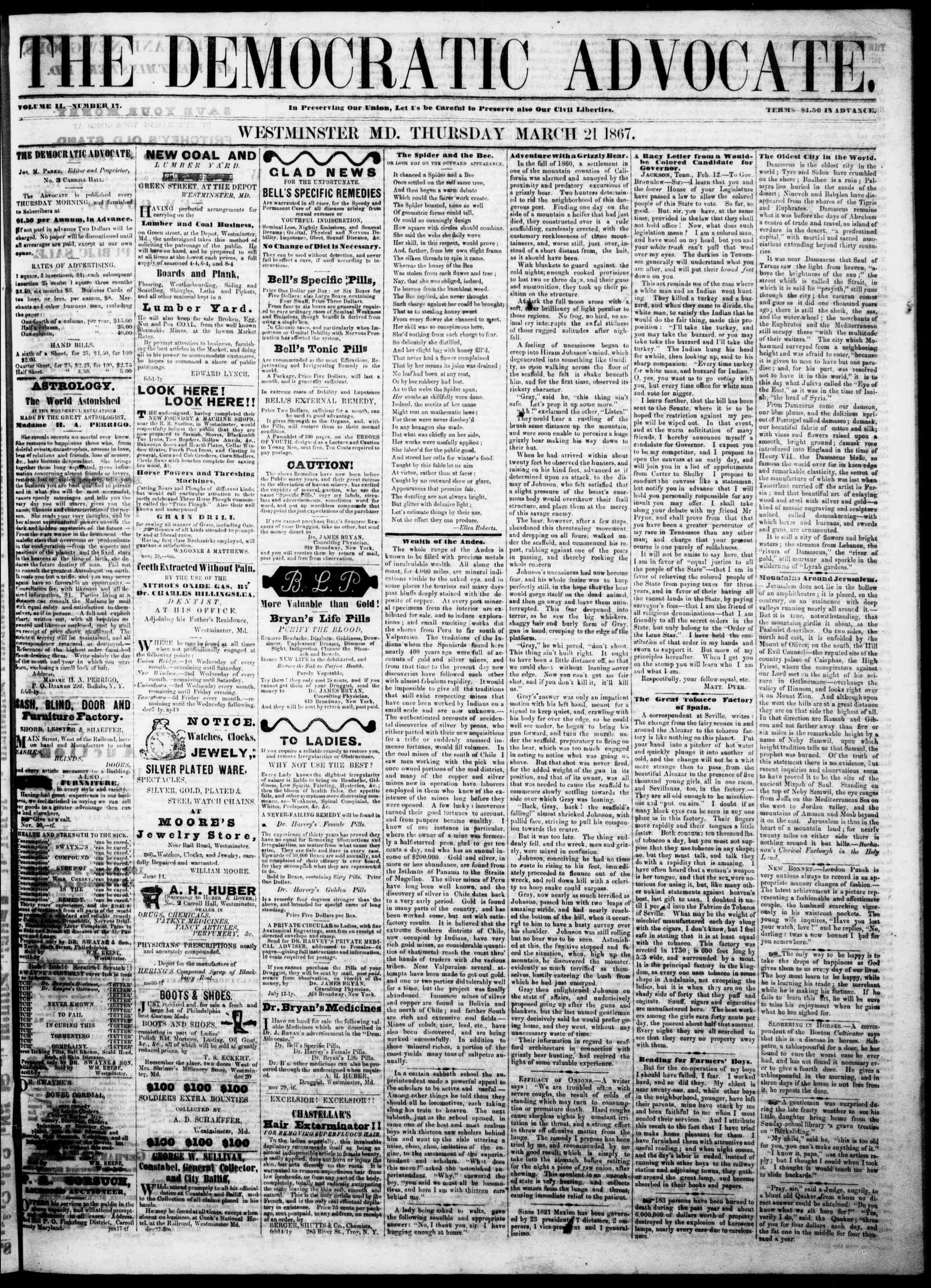 Newspaper of The Democratic Advocate dated March 21, 1867 Page 1