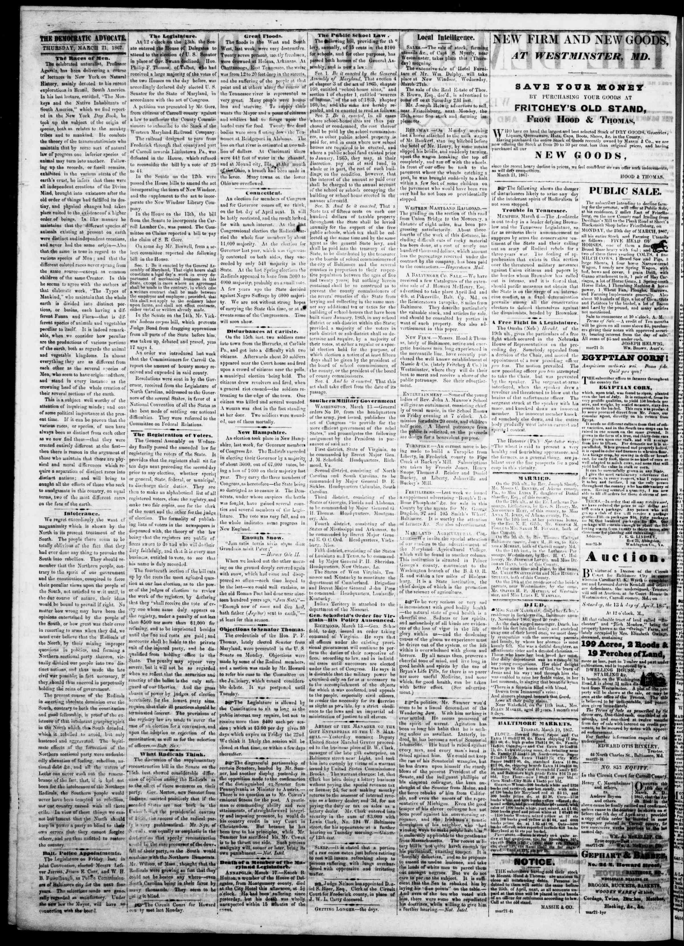Newspaper of The Democratic Advocate dated March 21, 1867 Page 2