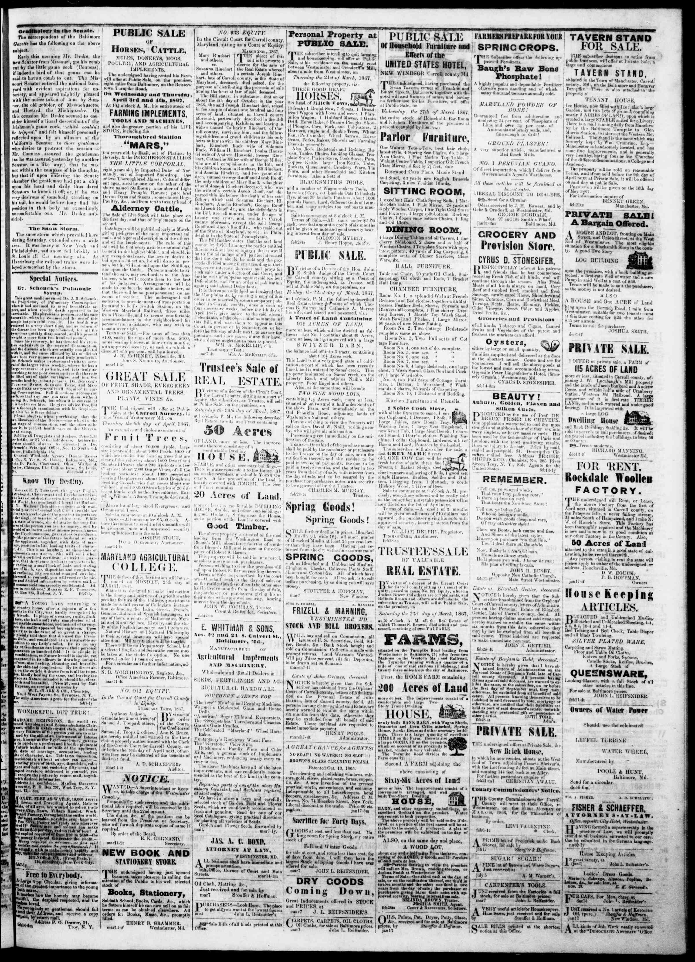 Newspaper of The Democratic Advocate dated March 21, 1867 Page 3