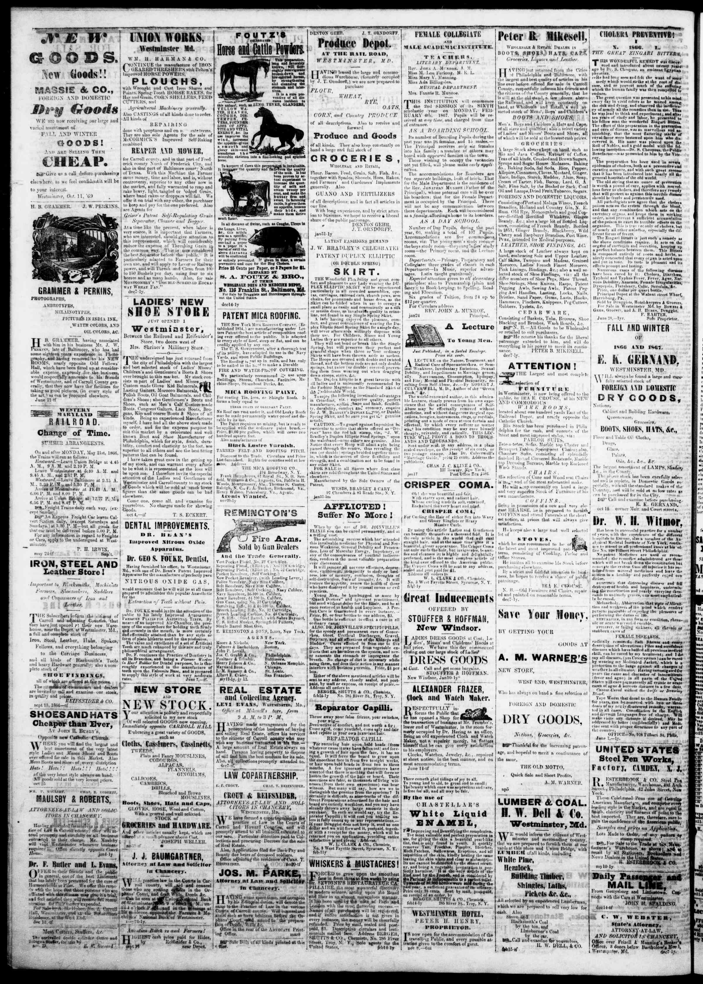 Newspaper of The Democratic Advocate dated March 21, 1867 Page 4