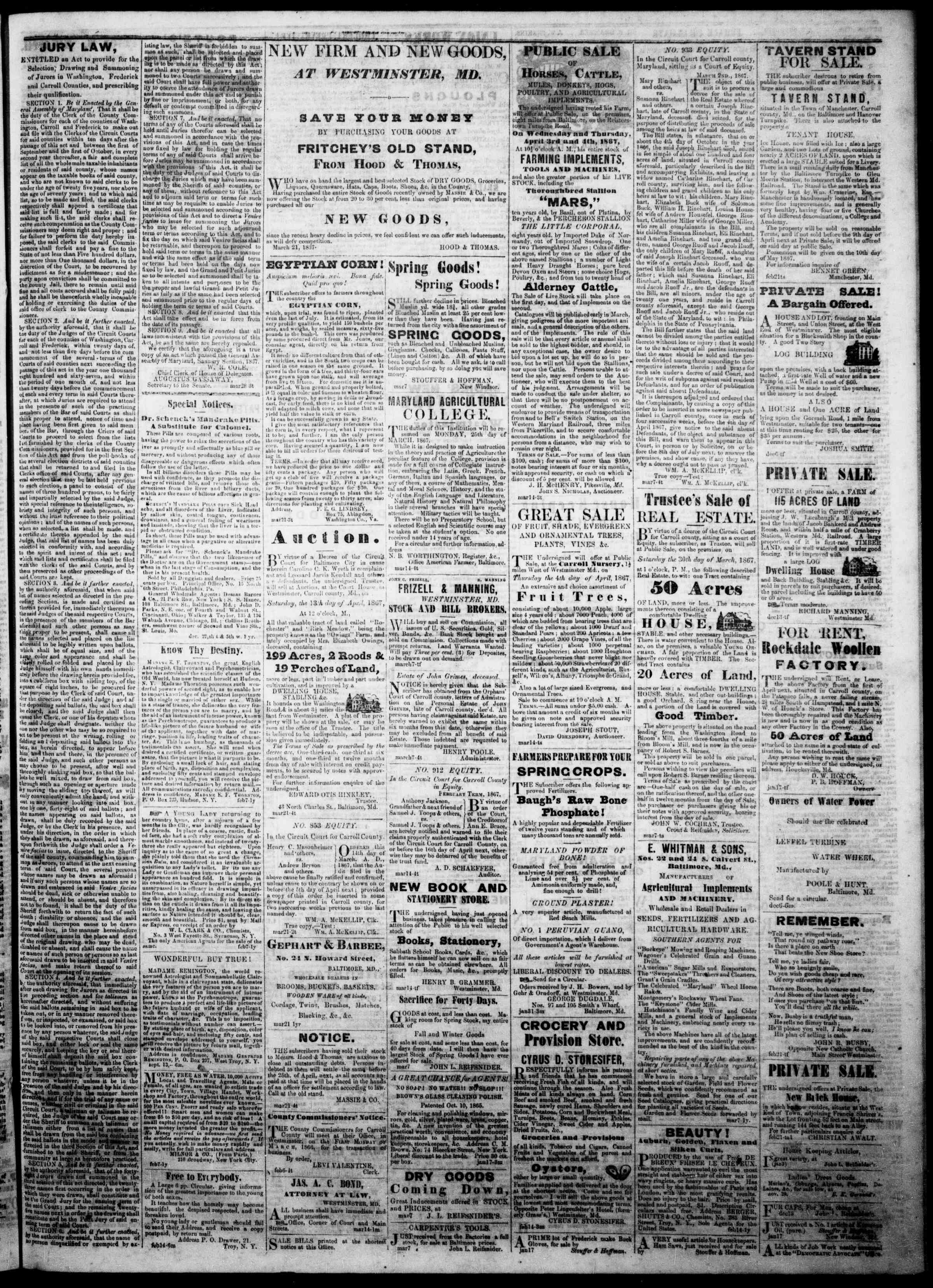 Newspaper of The Democratic Advocate dated March 28, 1867 Page 3
