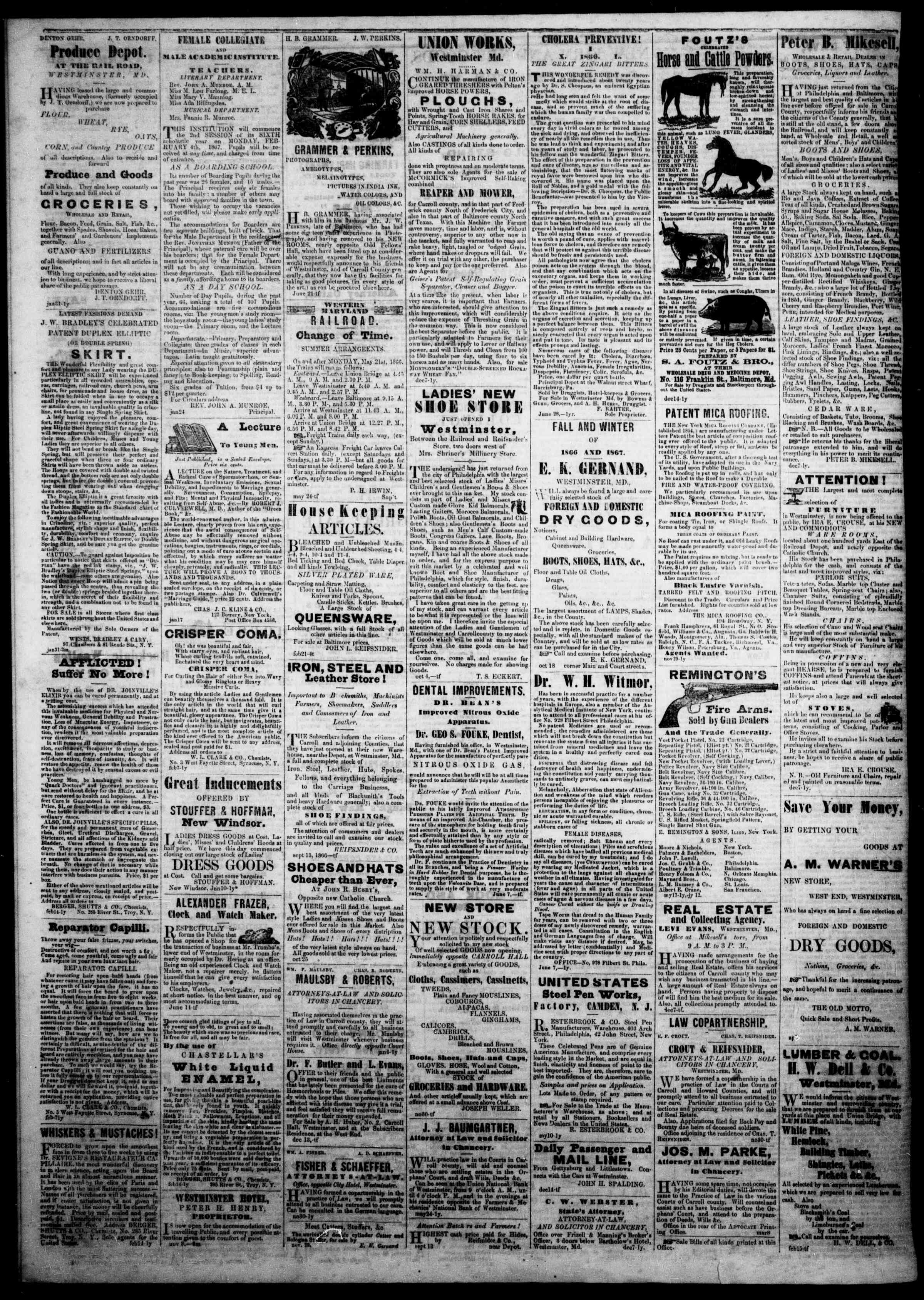Newspaper of The Democratic Advocate dated March 28, 1867 Page 4