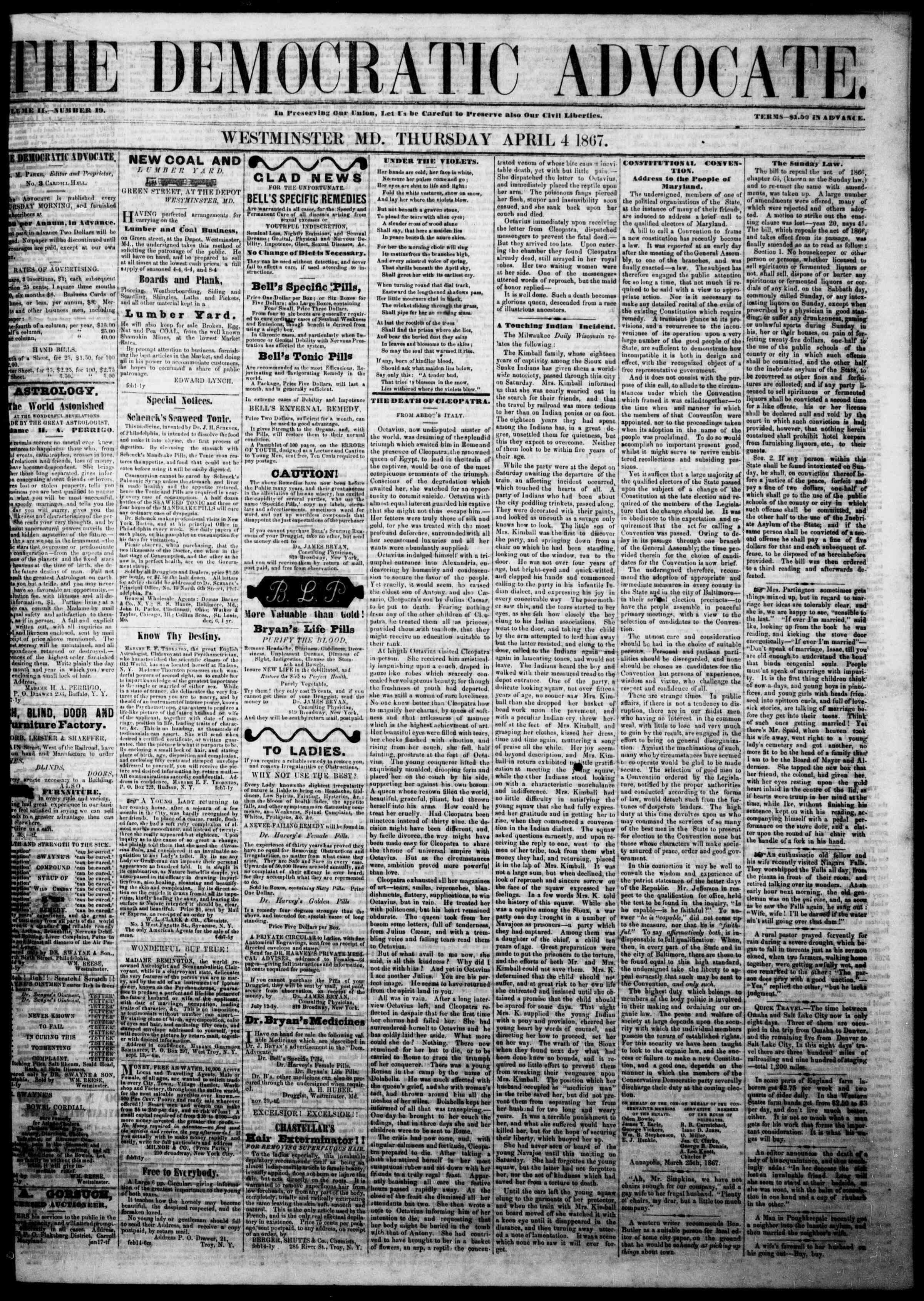 Newspaper of The Democratic Advocate dated April 4, 1867 Page 1