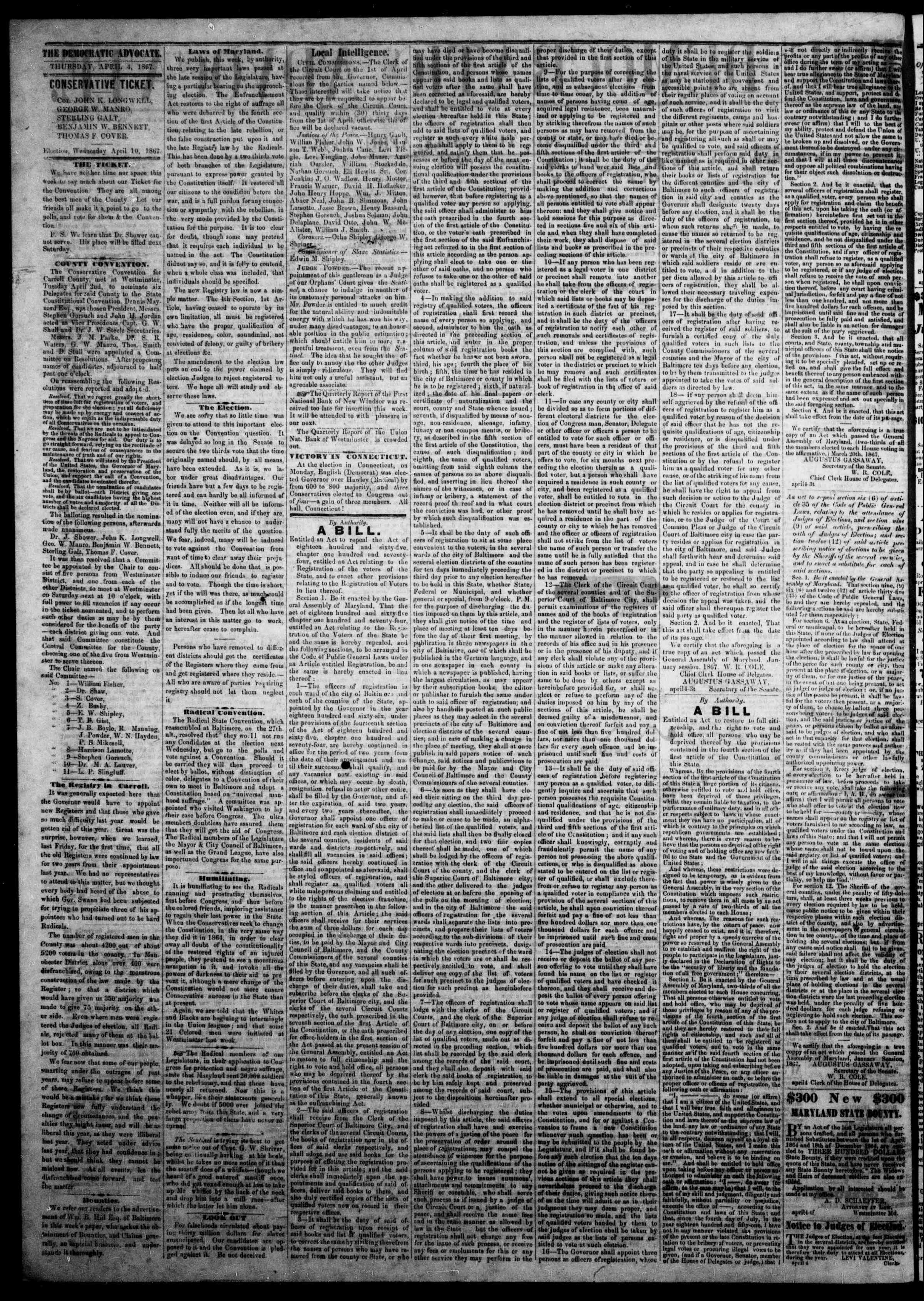 Newspaper of The Democratic Advocate dated April 4, 1867 Page 2