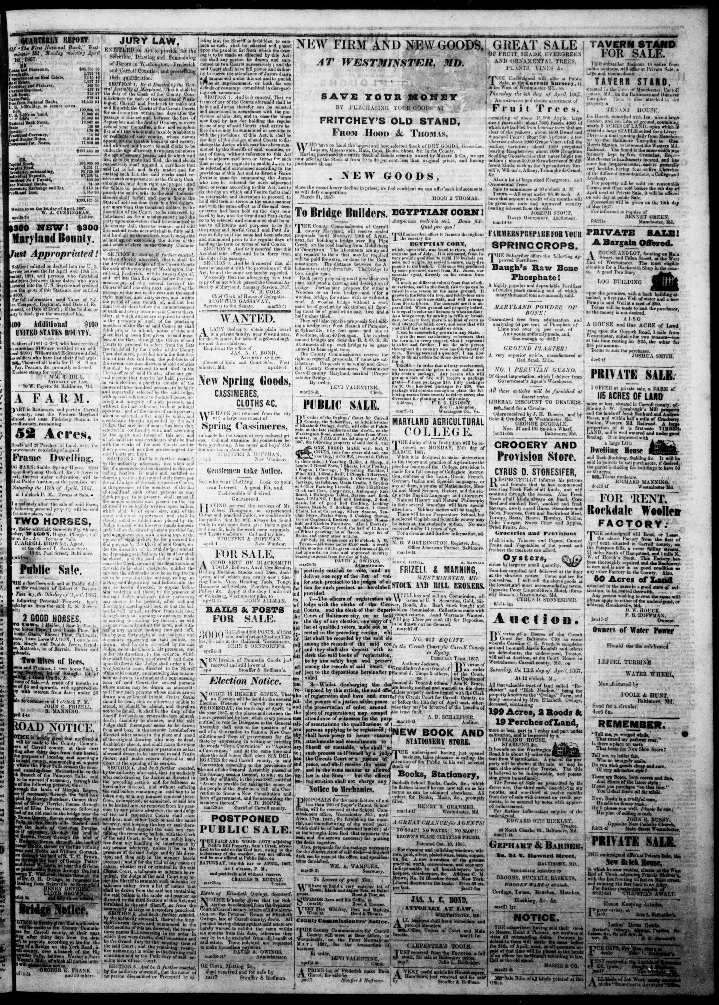Newspaper of The Democratic Advocate dated April 4, 1867 Page 3