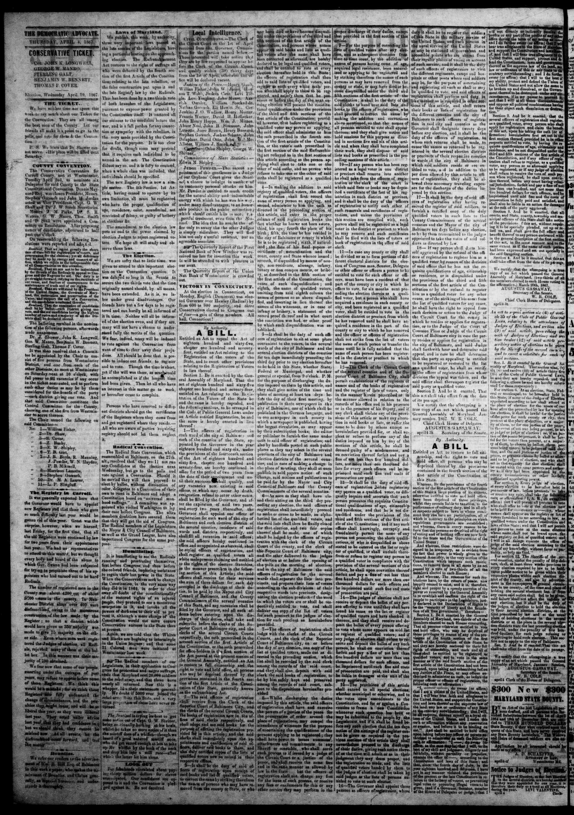 Newspaper of The Democratic Advocate dated April 4, 1867 Page 4
