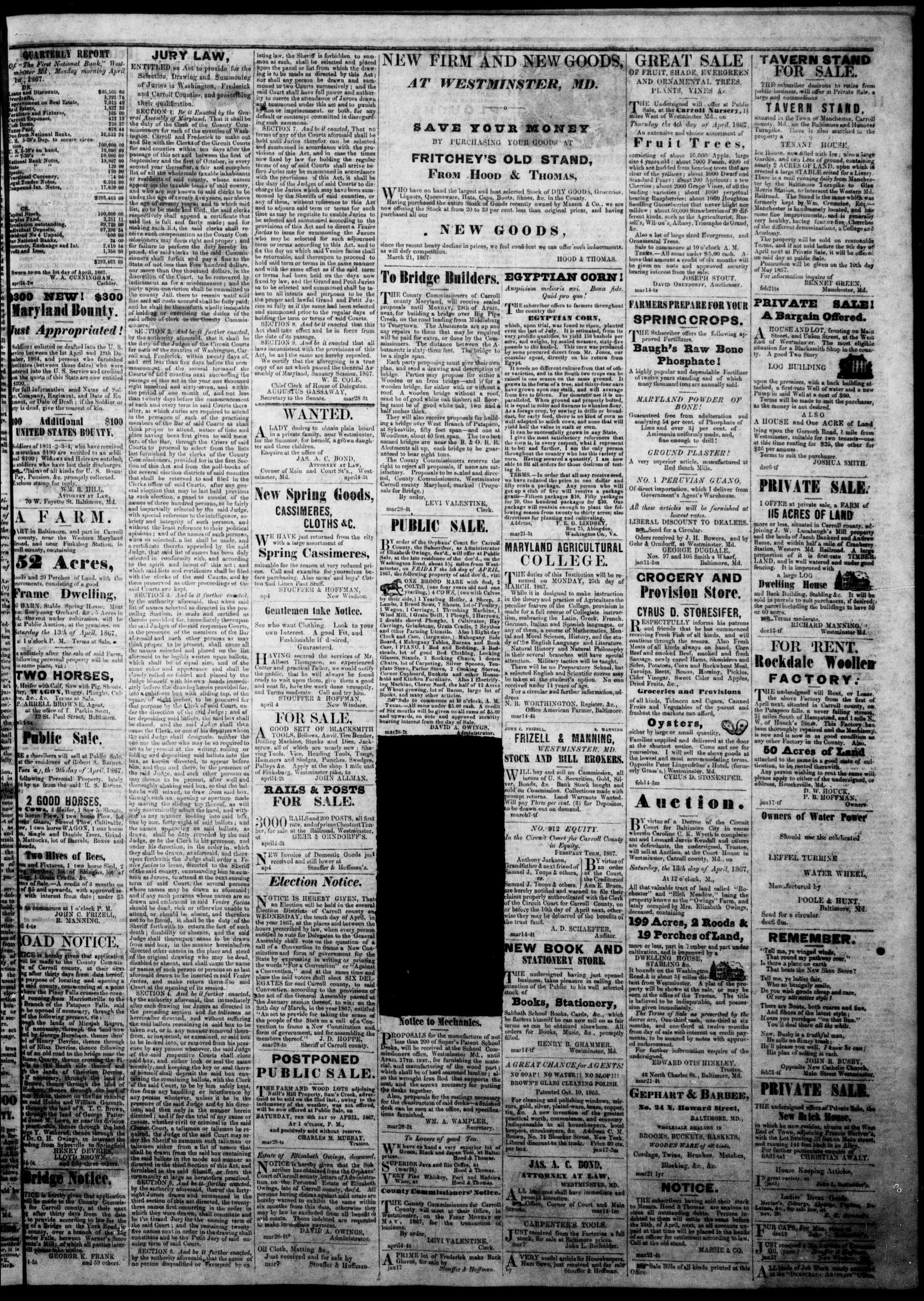 Newspaper of The Democratic Advocate dated April 4, 1867 Page 5