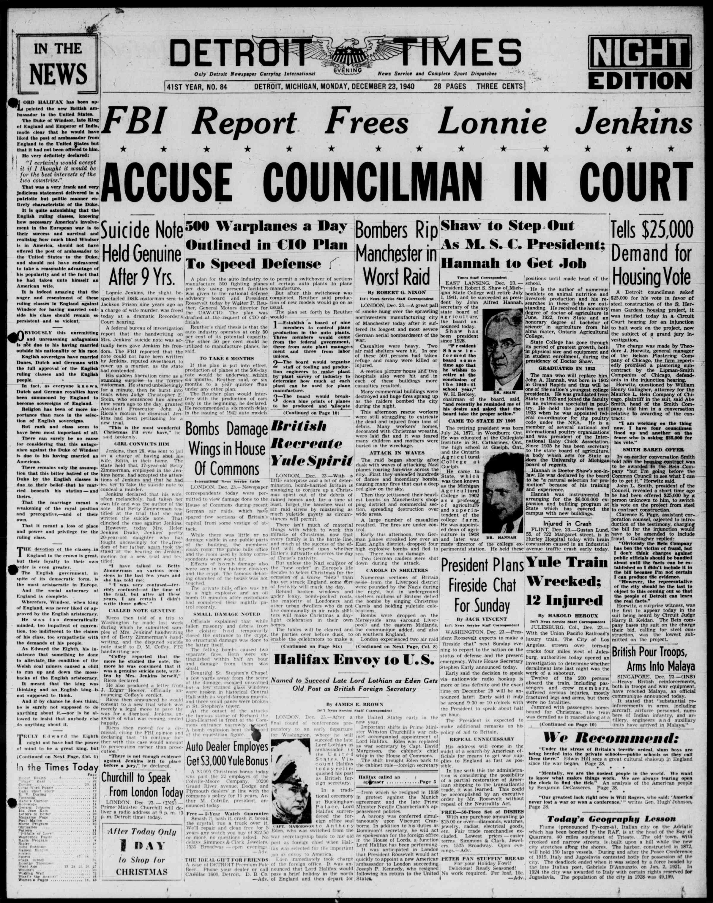 23 Aralık 1940 Tarihli Detroit Evening Times Dergisi Sayfa 1