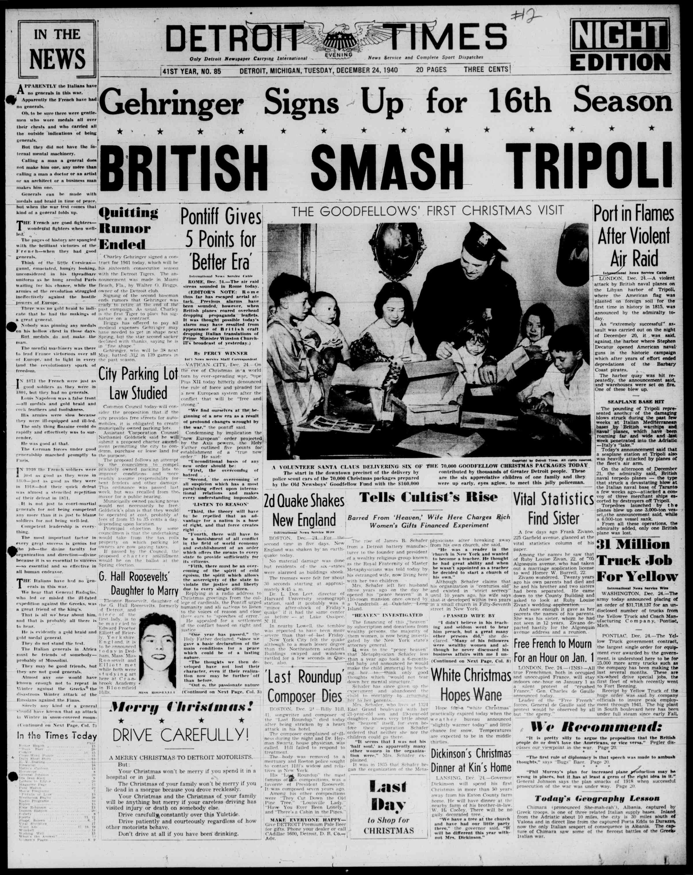 24 Aralık 1940 Tarihli Detroit Evening Times Dergisi Sayfa 1
