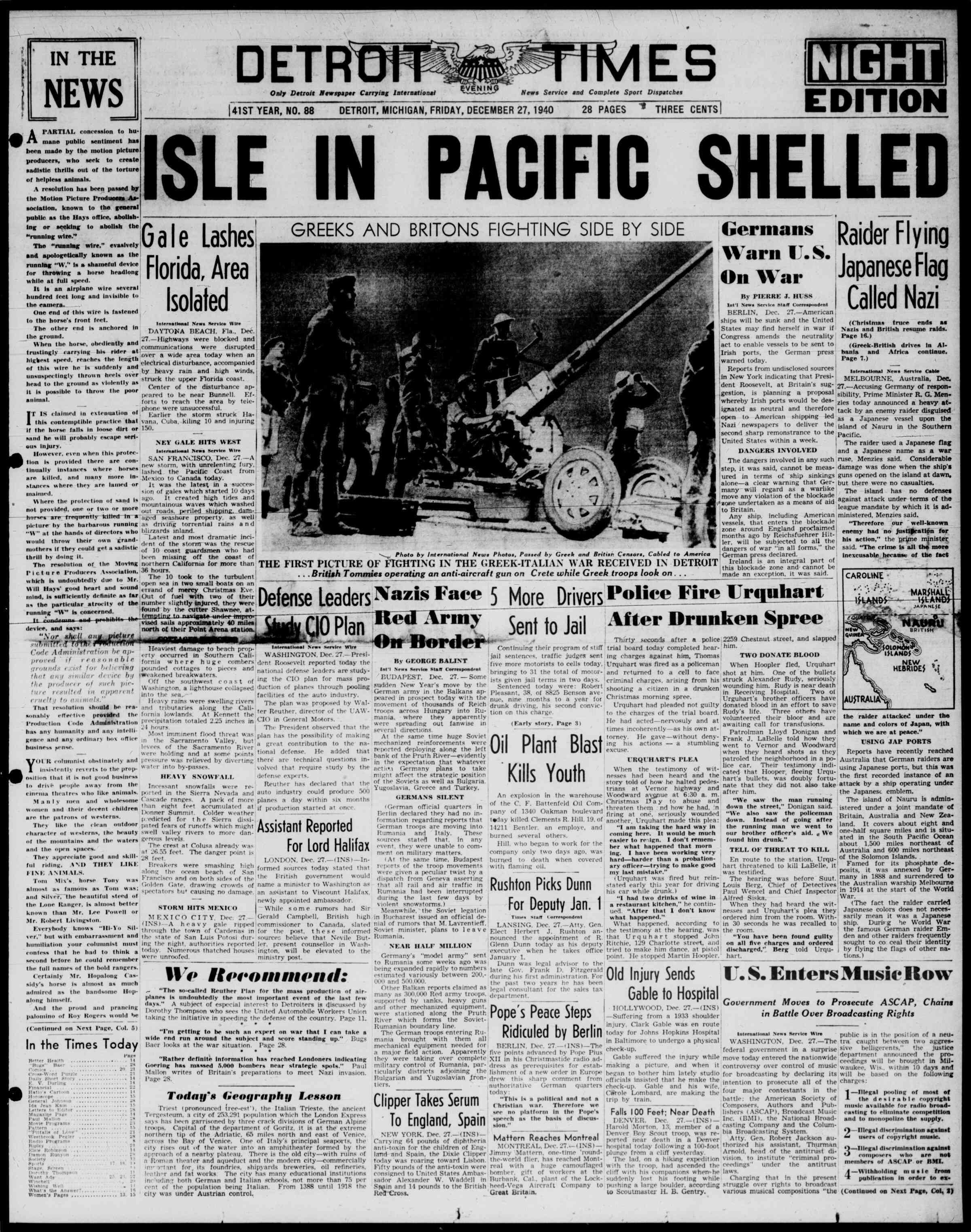 27 Aralık 1940 Tarihli Detroit Evening Times Dergisi Sayfa 1