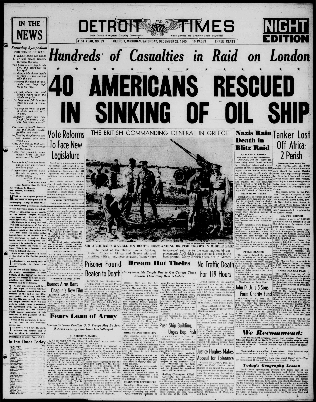 28 Aralık 1940 Tarihli Detroit Evening Times Dergisi Sayfa 1