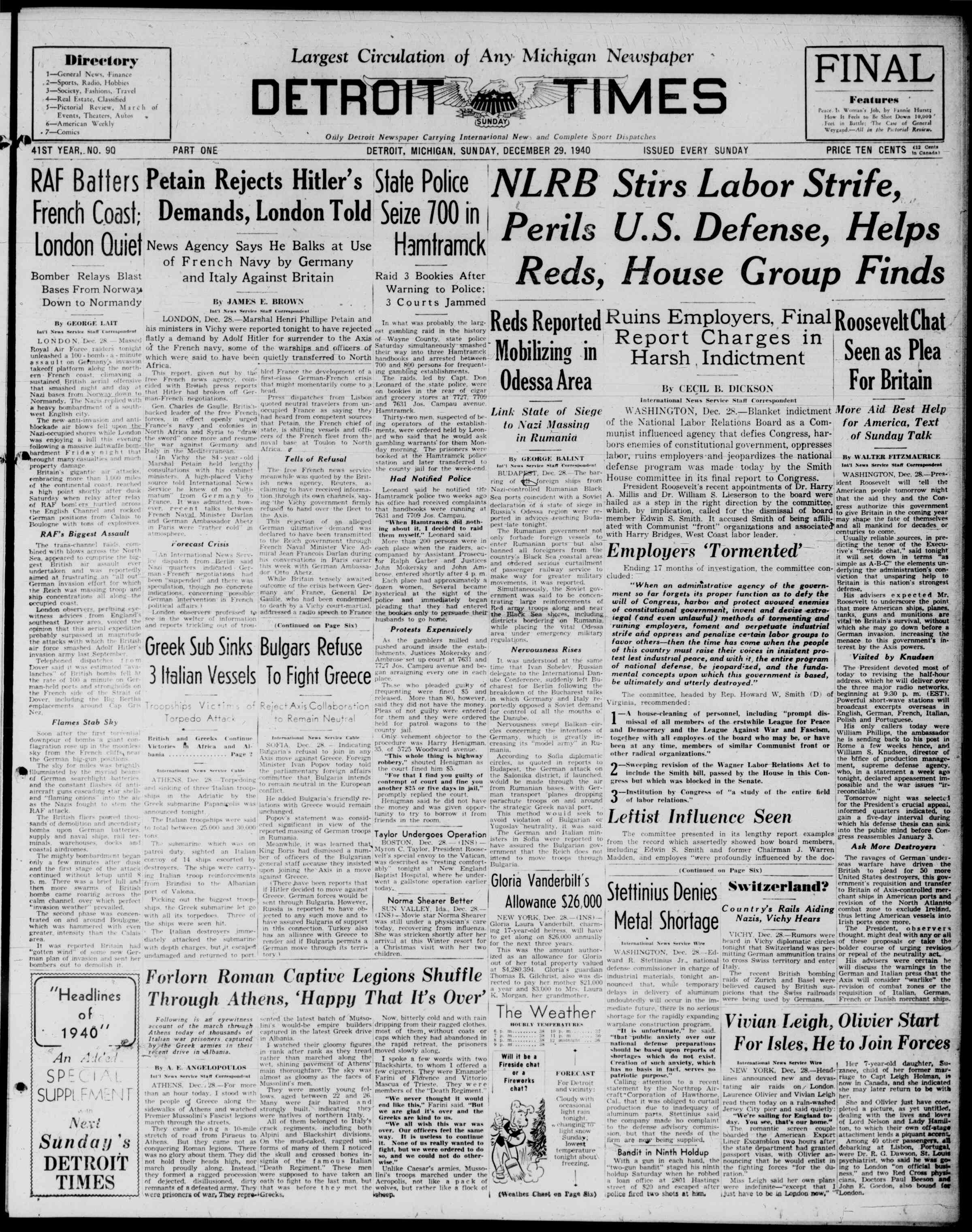 29 Aralık 1940 Tarihli Detroit Evening Times Dergisi Sayfa 1