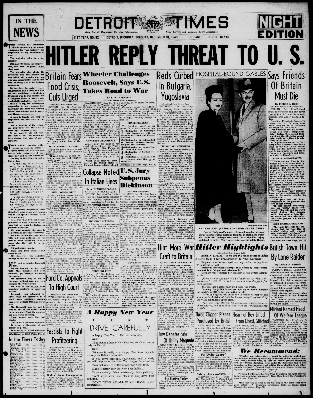 December 31, 1940 Tarihli Detroit Evening Times Dergisi Sayfa 1