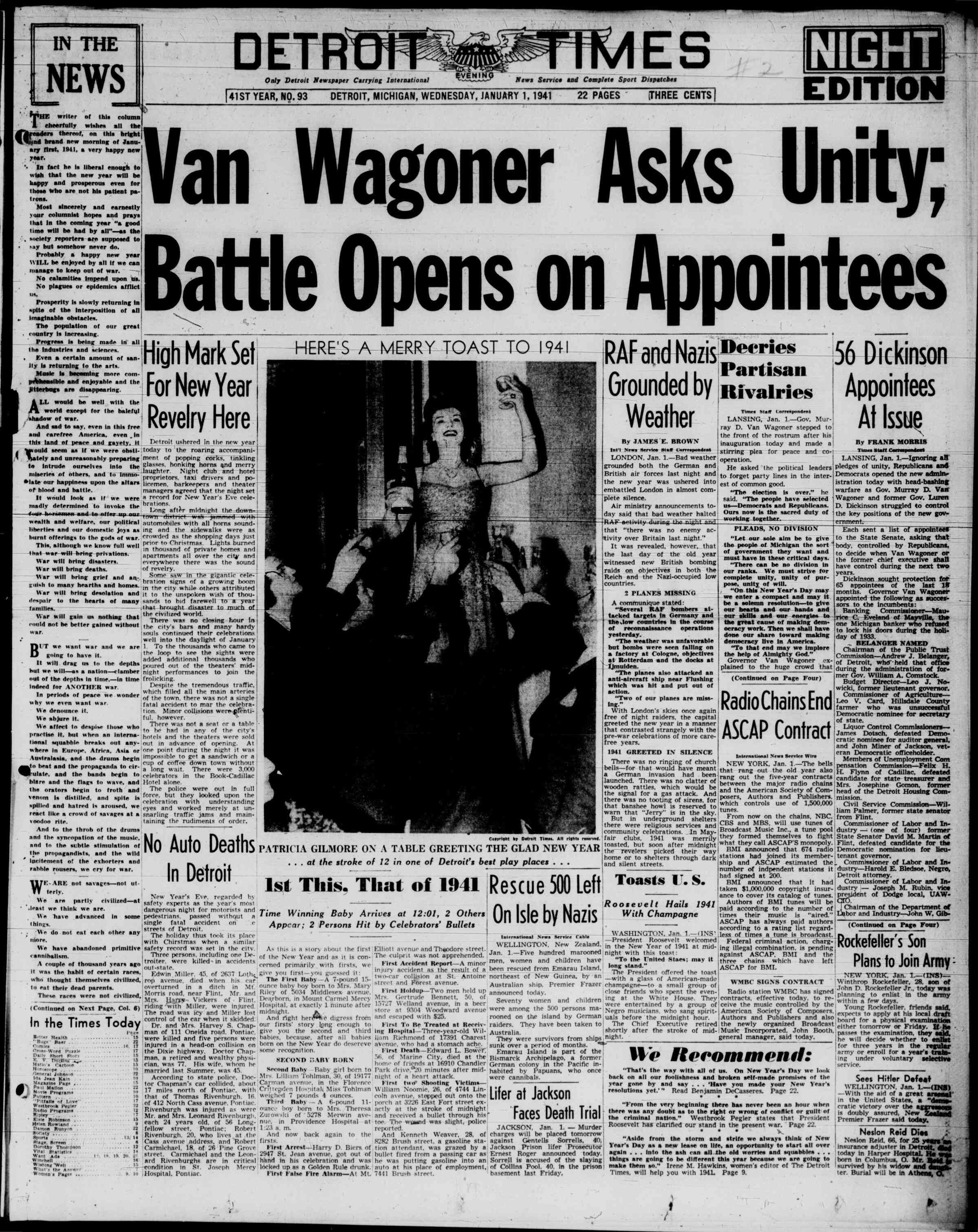 January 1, 1941 Tarihli Detroit Evening Times Gazetesi Sayfa 1
