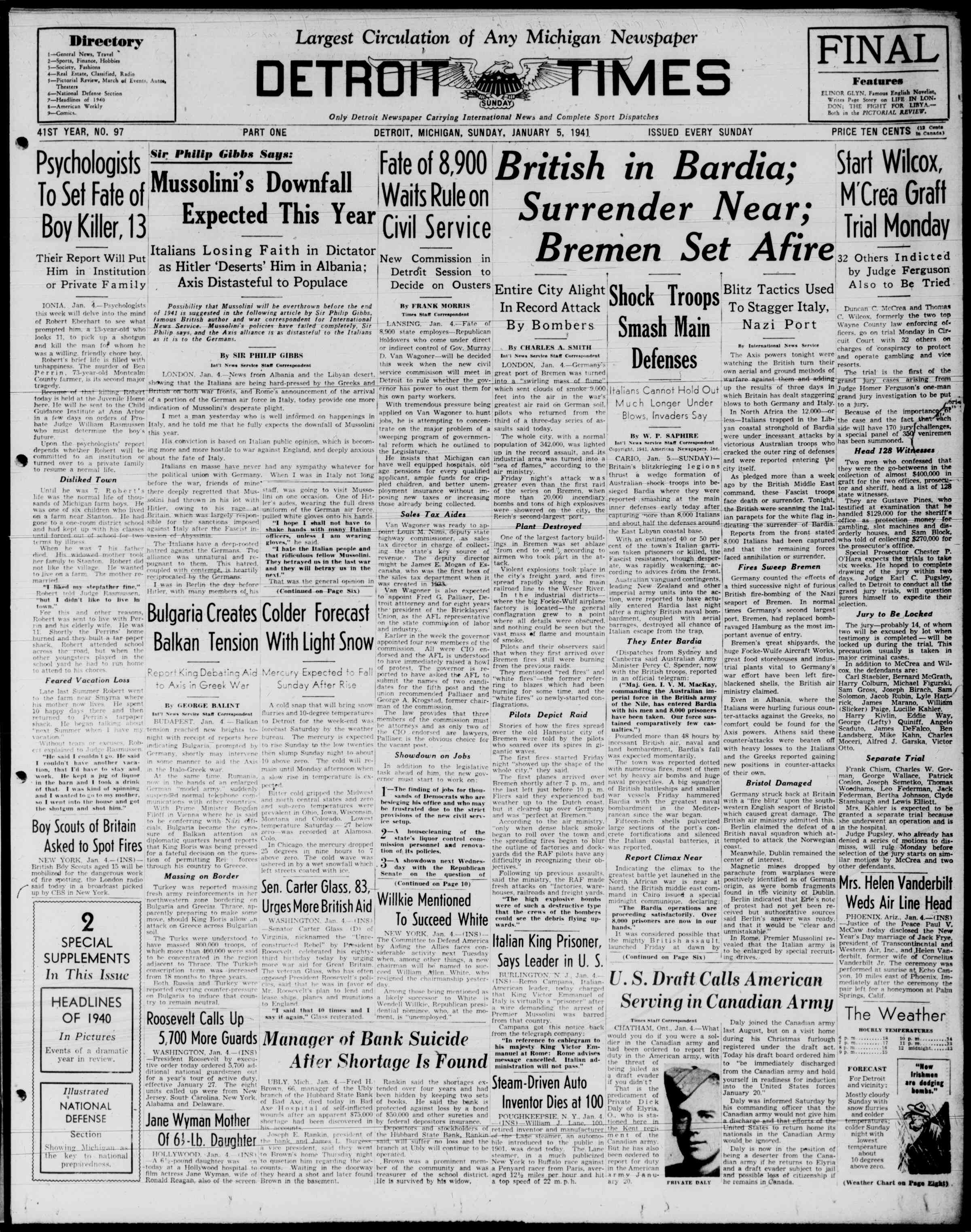 5 Ocak 1941 Tarihli Detroit Evening Times Dergisi Sayfa 1
