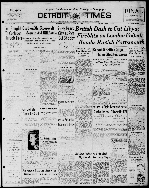 12 Ocak 1941 Tarihli Detroit Evening Times Dergisi Sayfa 1