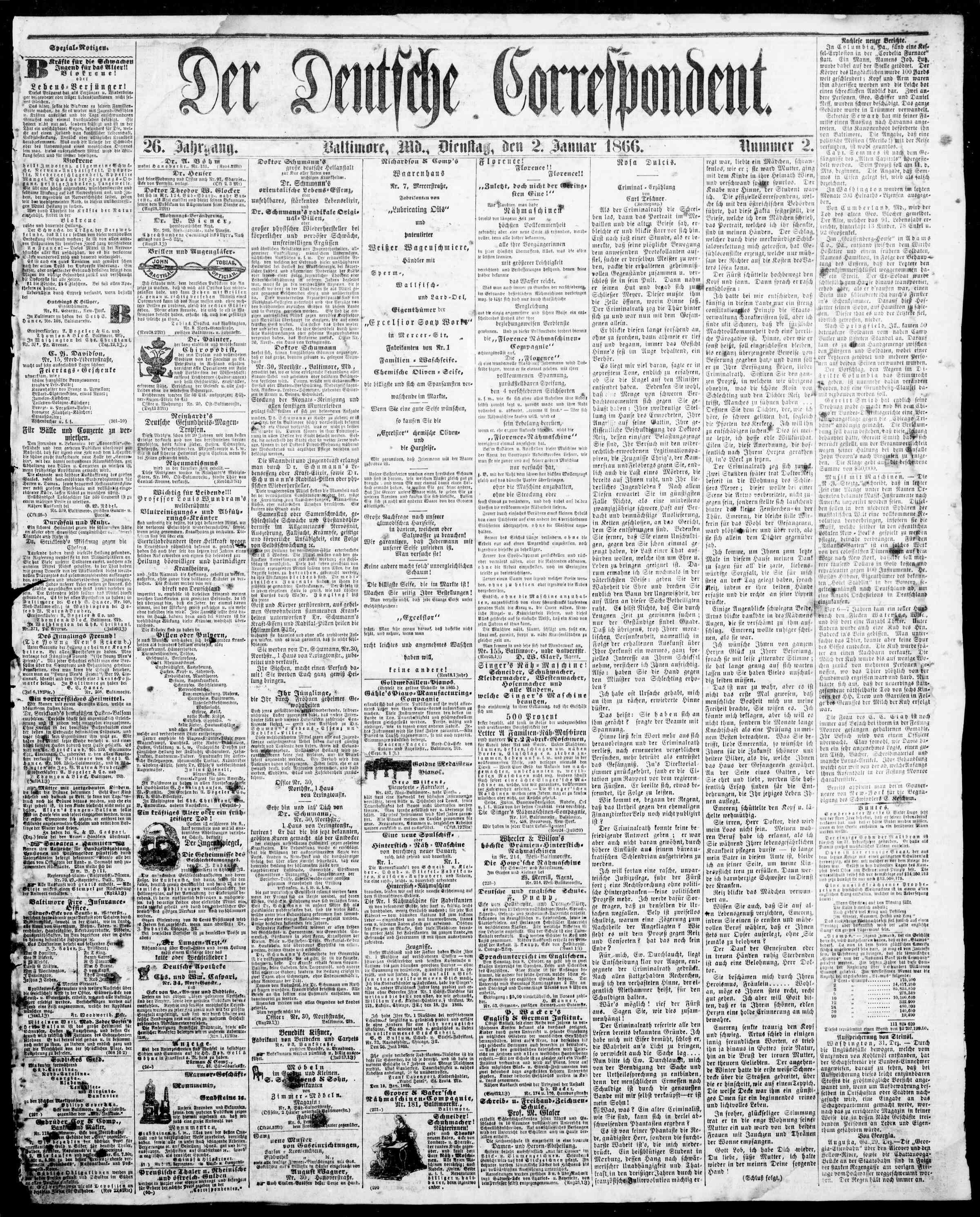 2 Ocak 1866 Tarihli Der Deutsche Correspondent Dergisi Sayfa 1