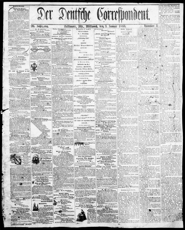 3 Ocak 1866 Tarihli Der Deutsche Correspondent Dergisi Sayfa 1