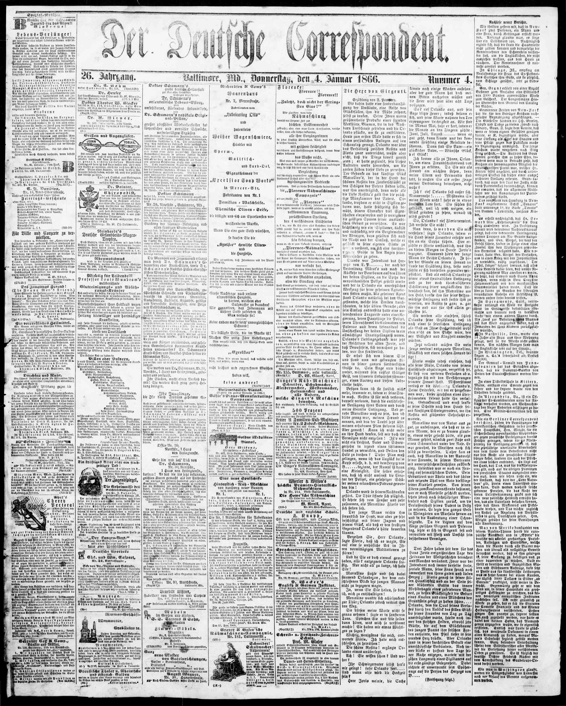 4 Ocak 1866 Tarihli Der Deutsche Correspondent Dergisi Sayfa 1
