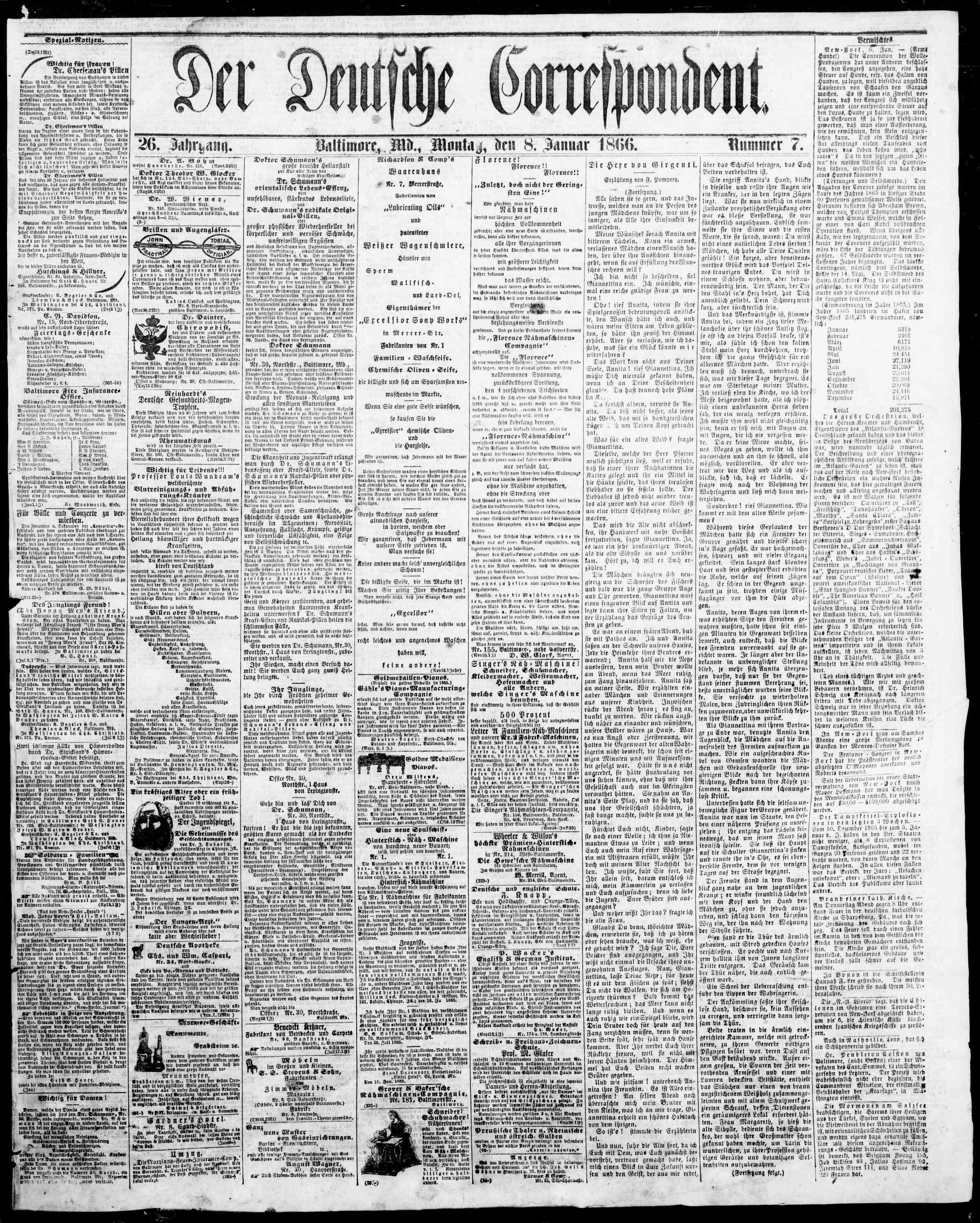 8 Ocak 1866 Tarihli Der Deutsche Correspondent Dergisi Sayfa 1