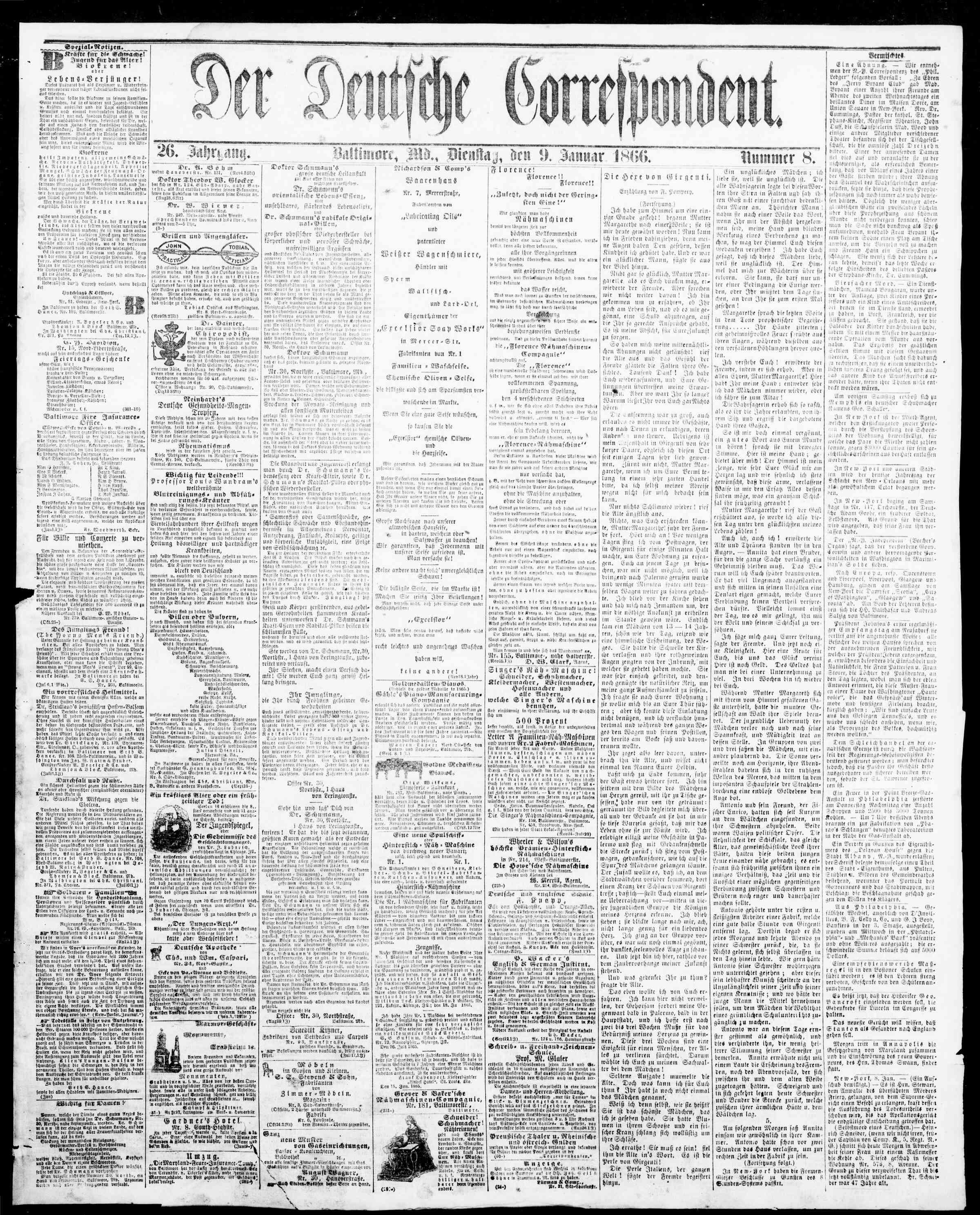 9 Ocak 1866 Tarihli Der Deutsche Correspondent Dergisi Sayfa 1