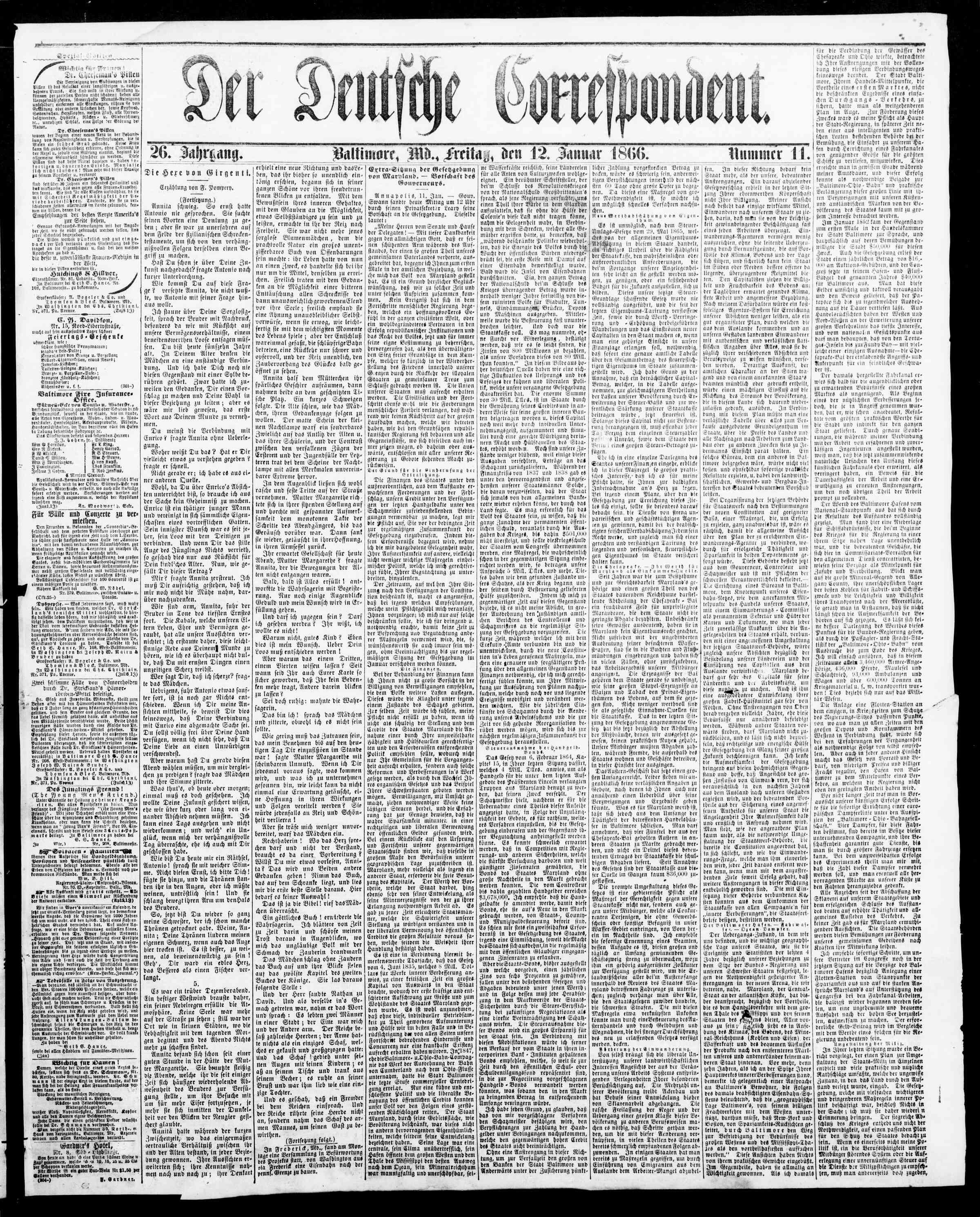 12 Ocak 1866 Tarihli Der Deutsche Correspondent Dergisi Sayfa 1