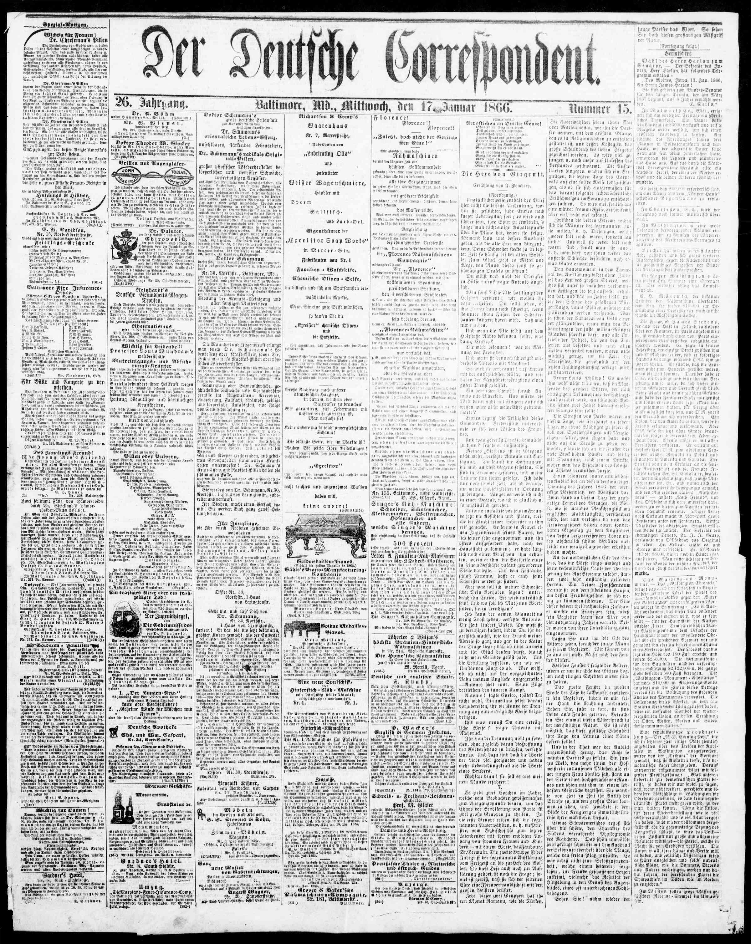 17 Ocak 1866 Tarihli Der Deutsche Correspondent Dergisi Sayfa 1