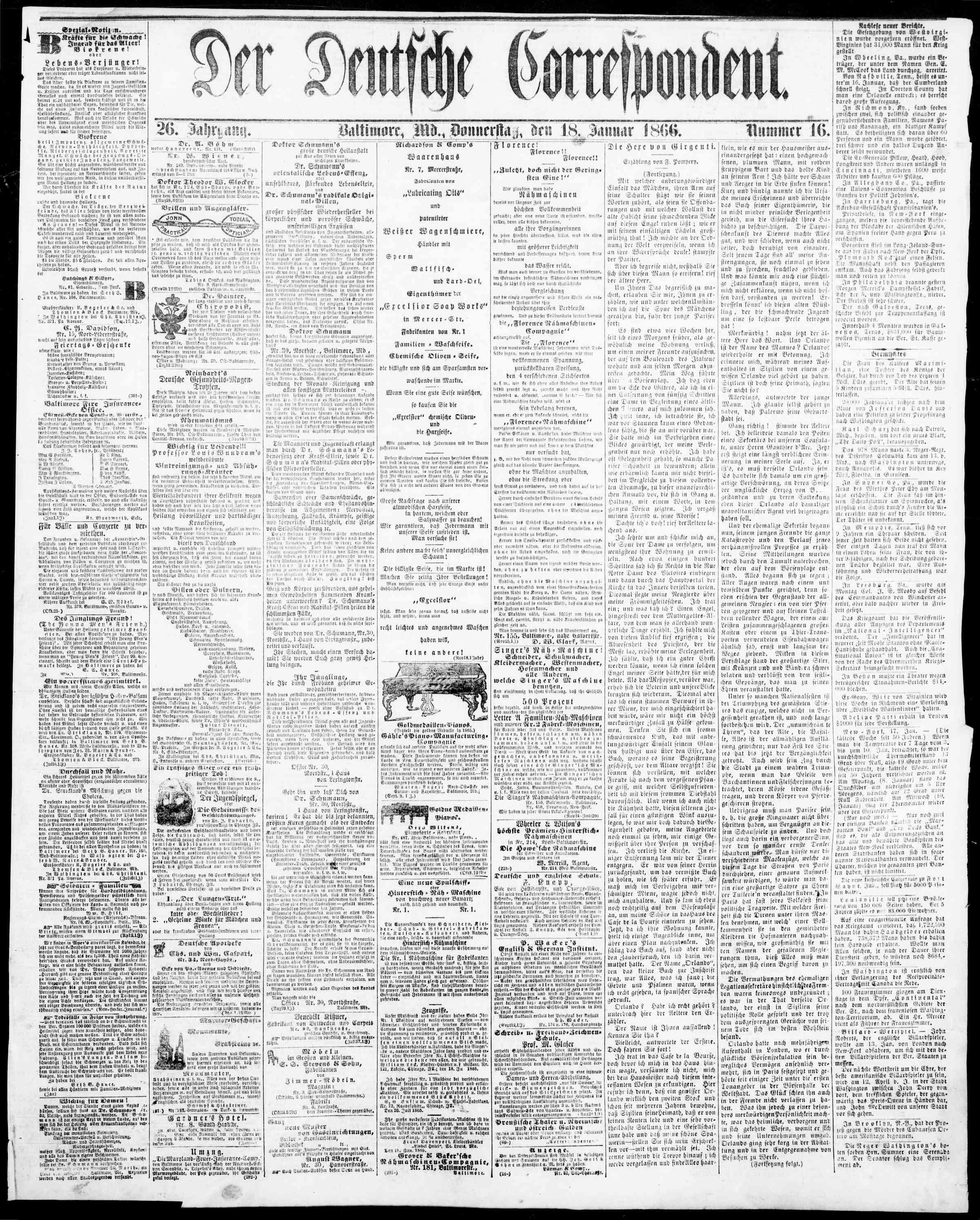 18 Ocak 1866 Tarihli Der Deutsche Correspondent Dergisi Sayfa 1