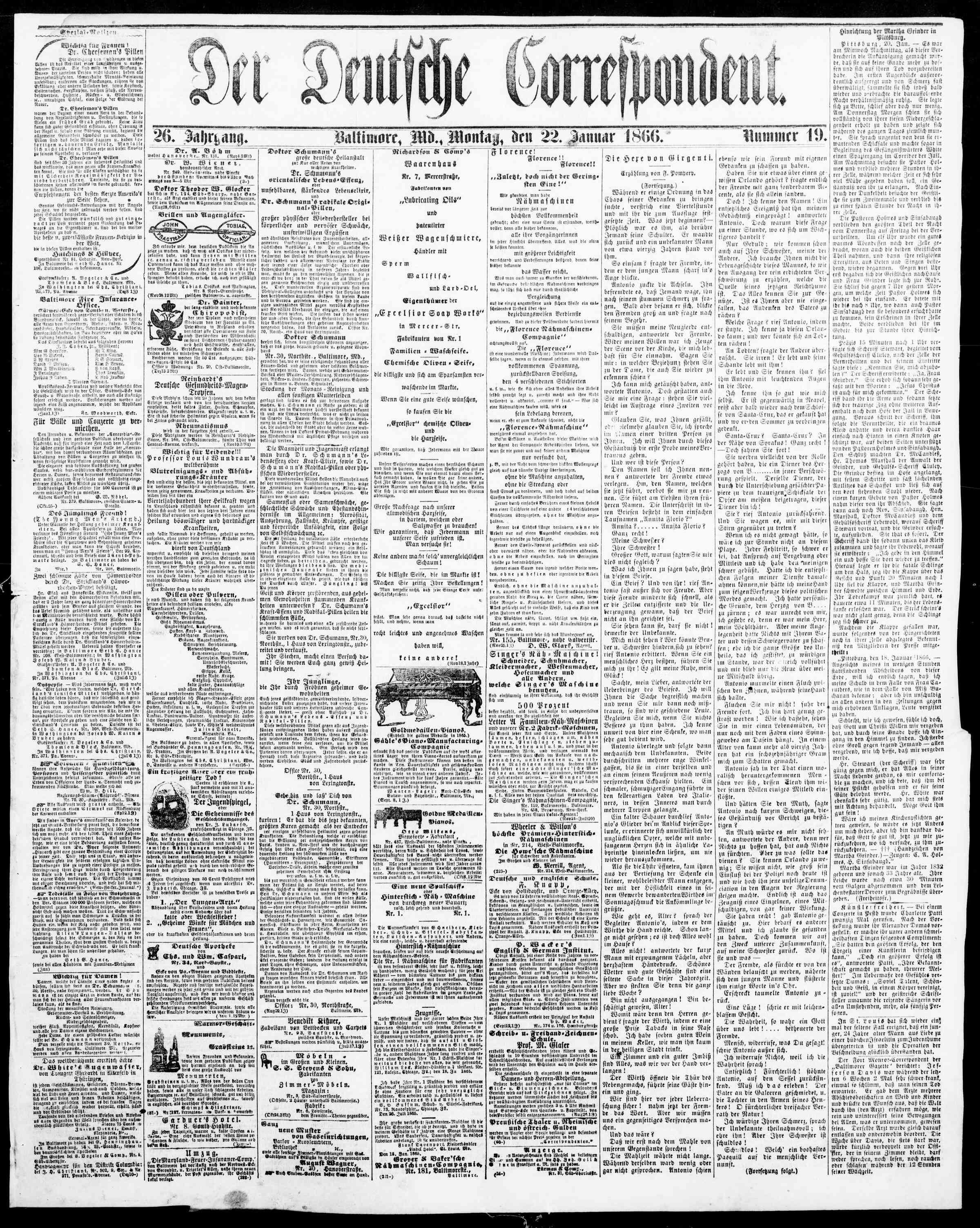 22 Ocak 1866 Tarihli Der Deutsche Correspondent Dergisi Sayfa 1