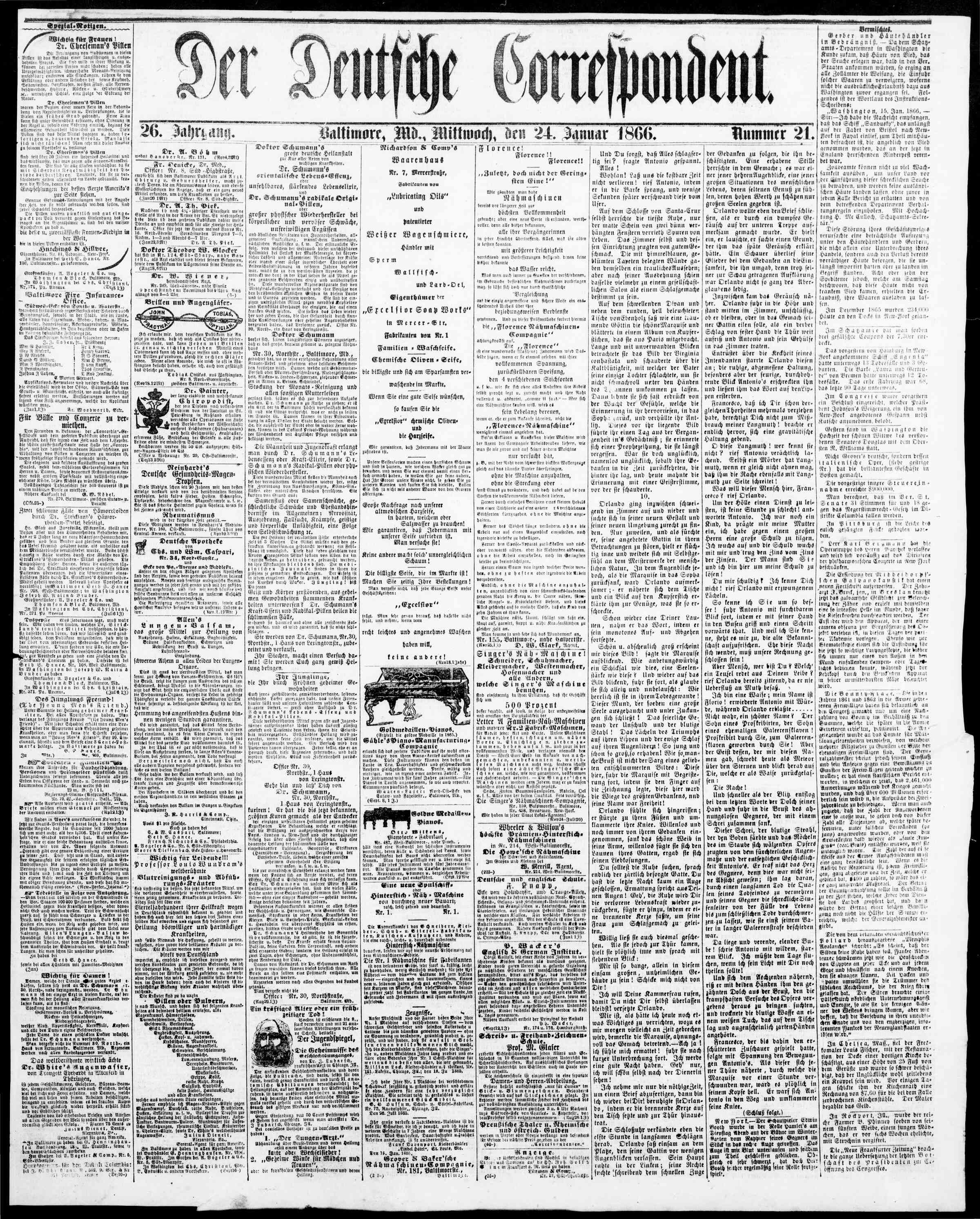 24 Ocak 1866 Tarihli Der Deutsche Correspondent Dergisi Sayfa 1