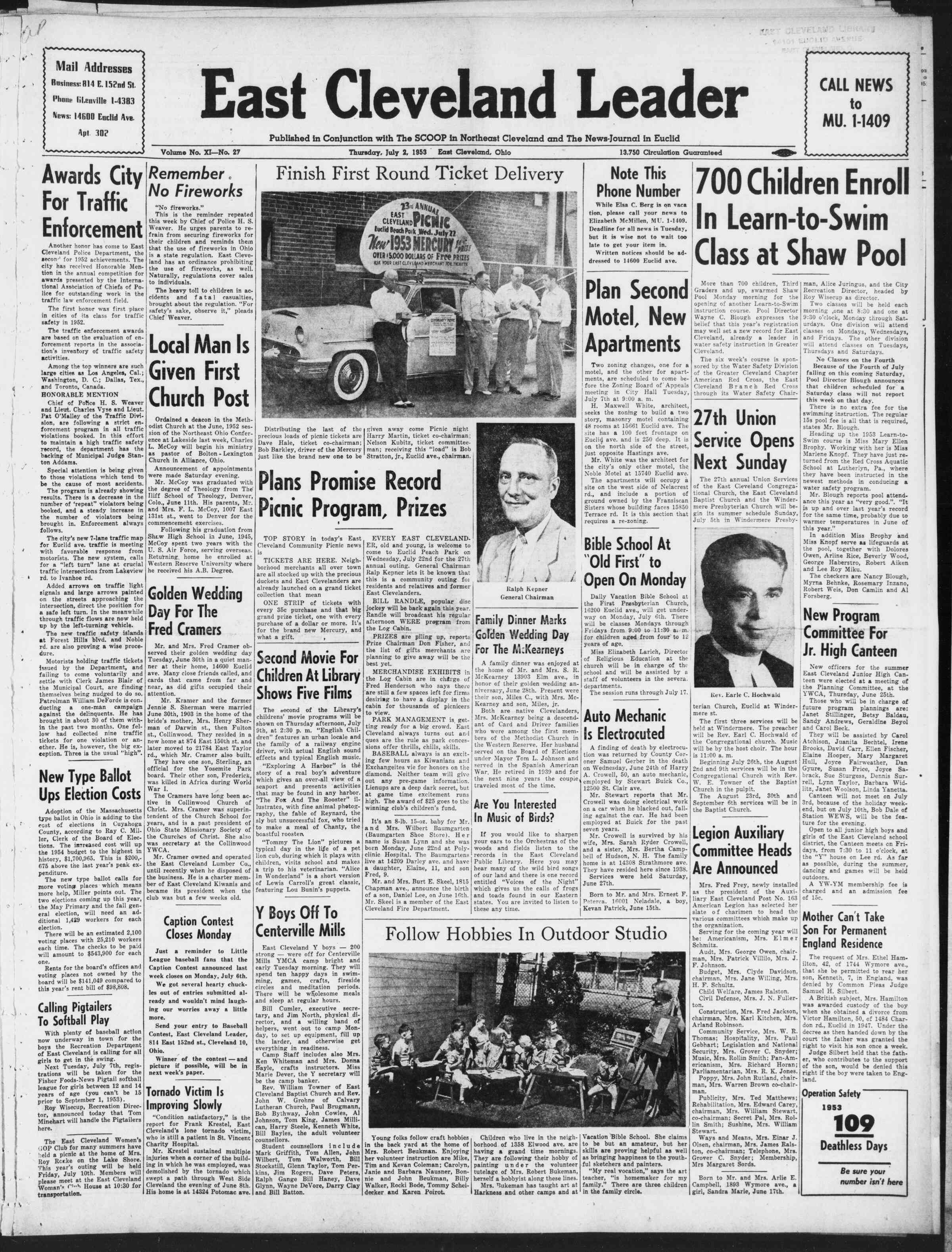 2 Temmuz 1953 Tarihli East Cleveland Leader Gazetesi Sayfa 1