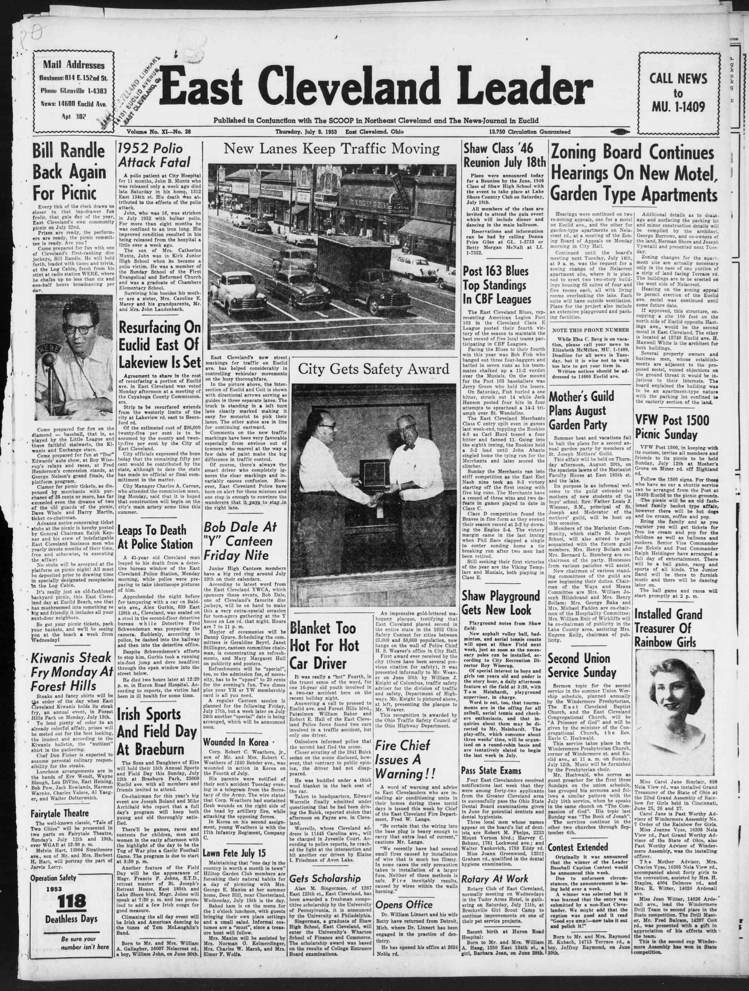 July 9, 1953 Tarihli East Cleveland Leader Dergisi Sayfa 1