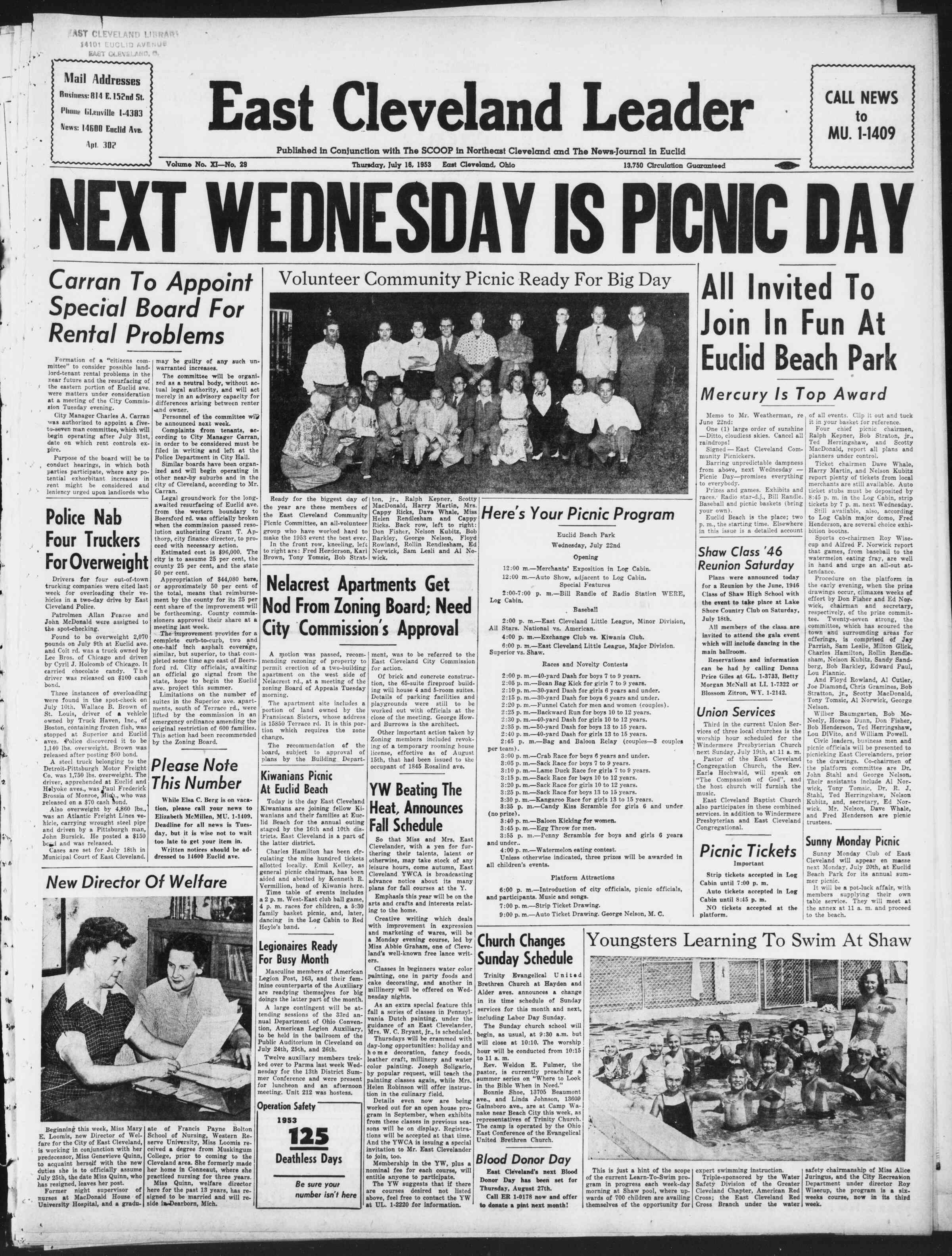 16 Temmuz 1953 Tarihli East Cleveland Leader Gazetesi Sayfa 1