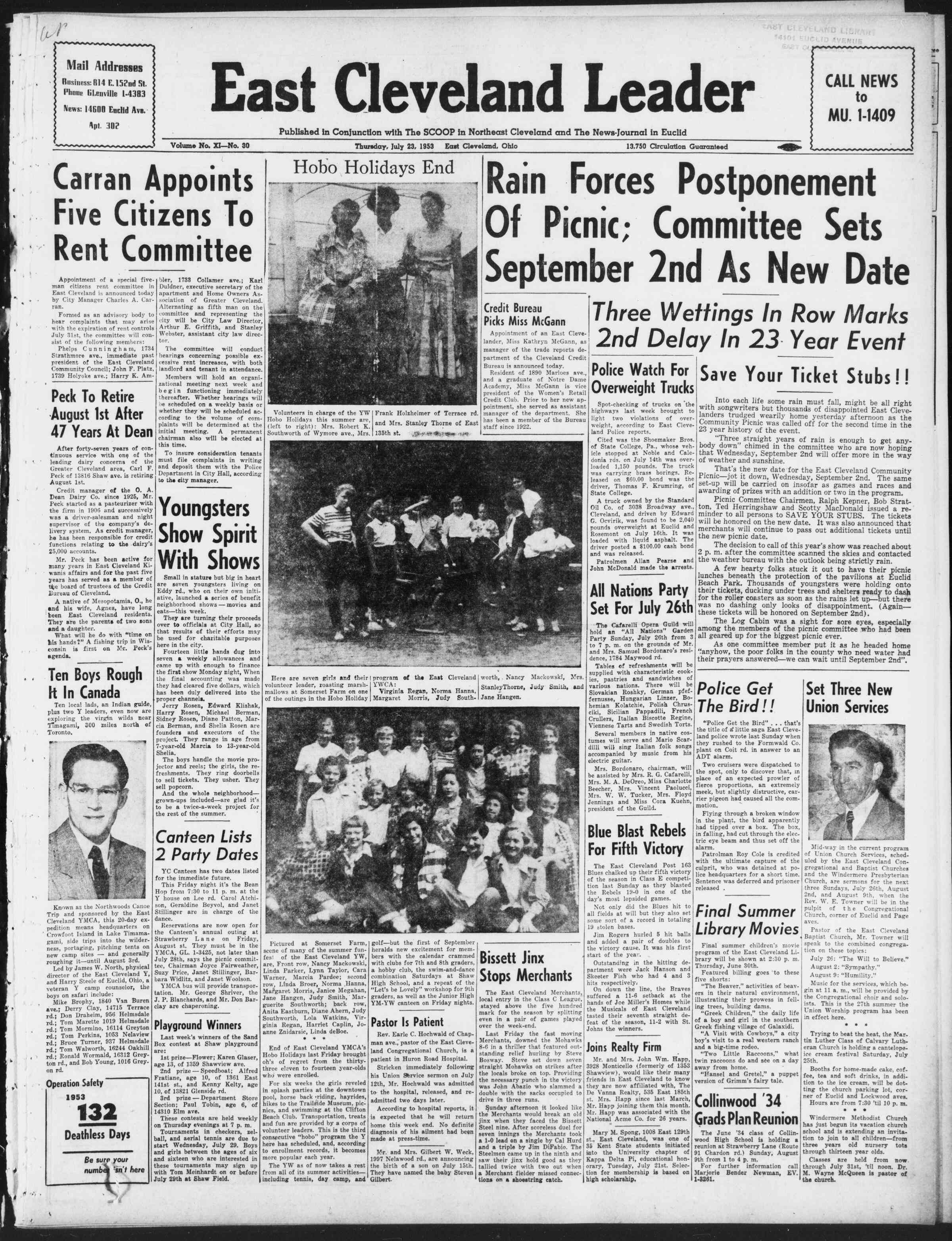 23 Temmuz 1953 Tarihli East Cleveland Leader Dergisi Sayfa 1