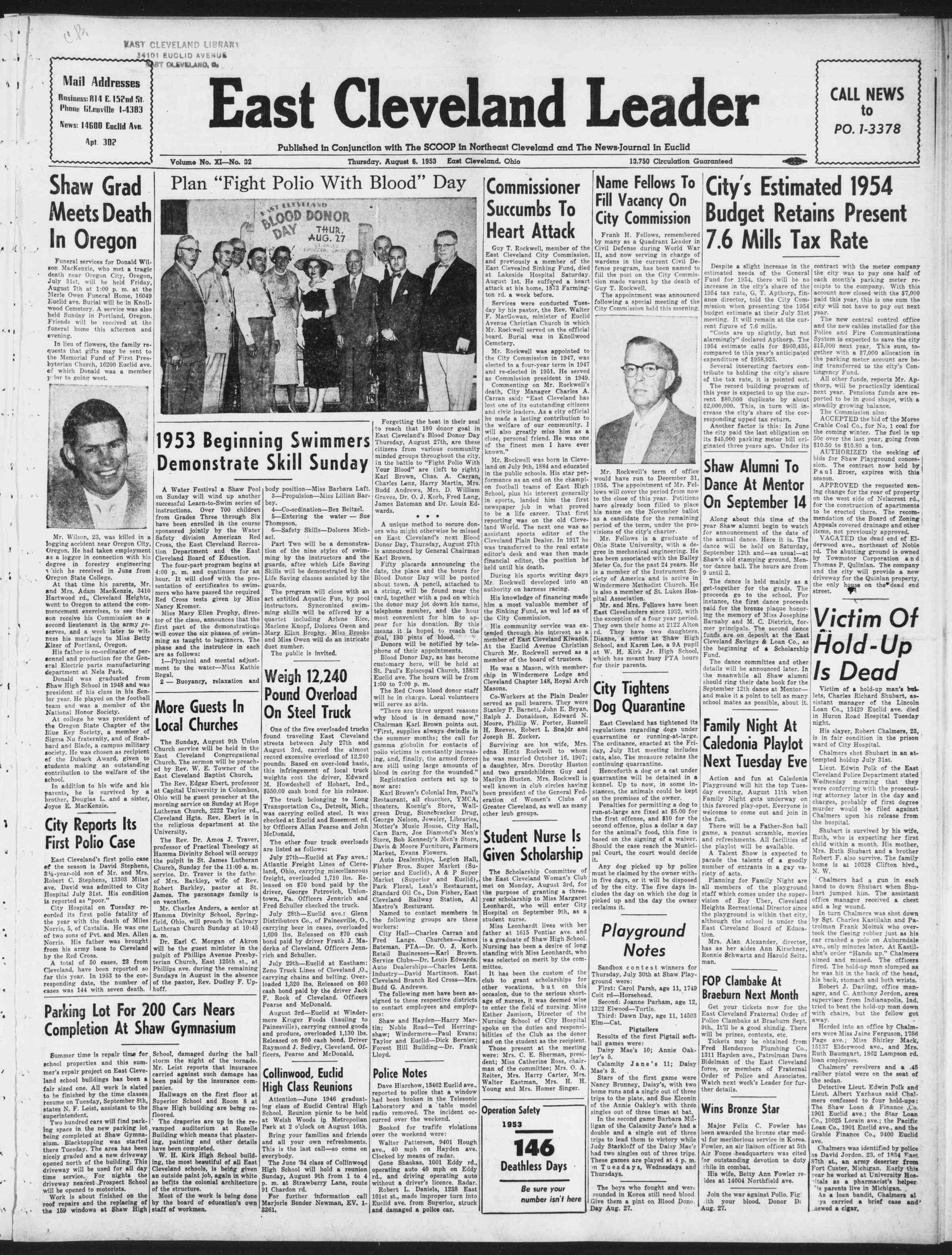 6 Ağustos 1953 Tarihli East Cleveland Leader Gazetesi Sayfa 1