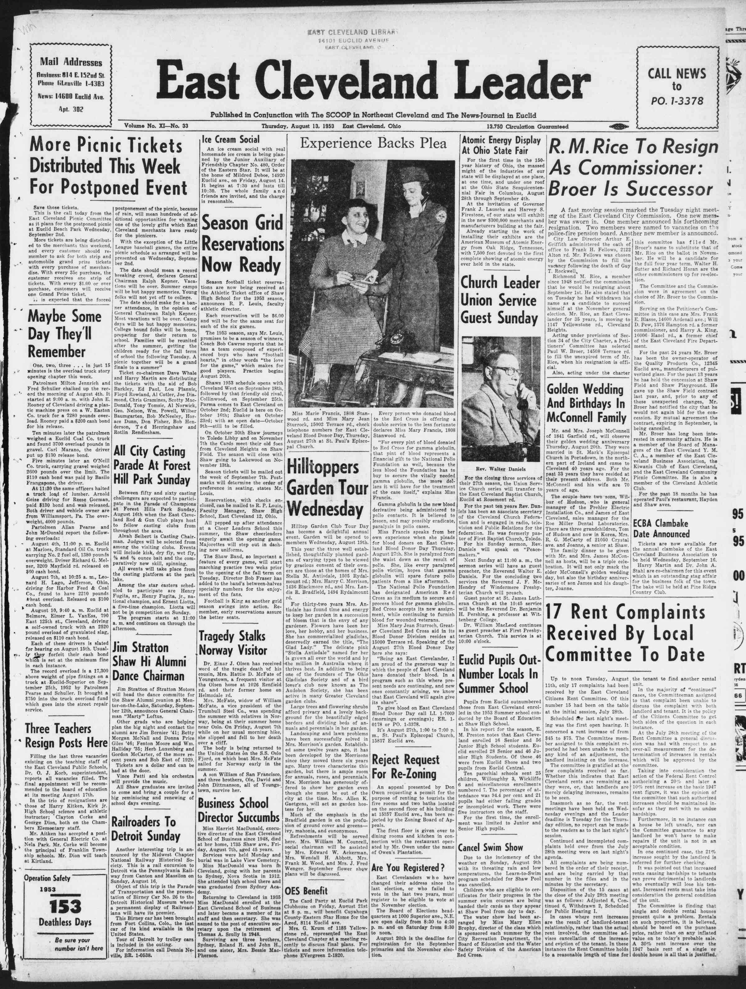 13 Ağustos 1953 Tarihli East Cleveland Leader Dergisi Sayfa 1