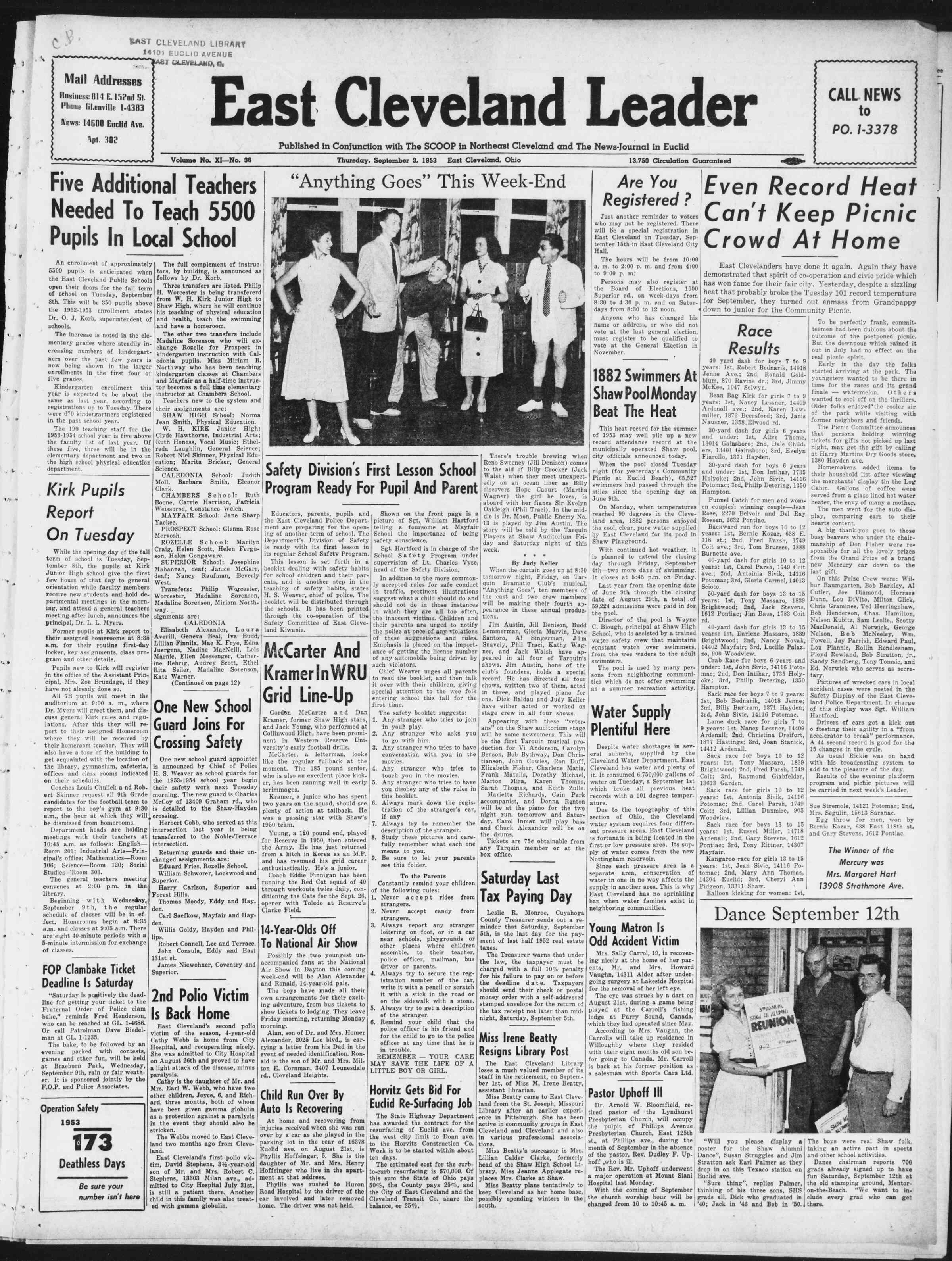 3 Eylül 1953 Tarihli East Cleveland Leader Dergisi Sayfa 1