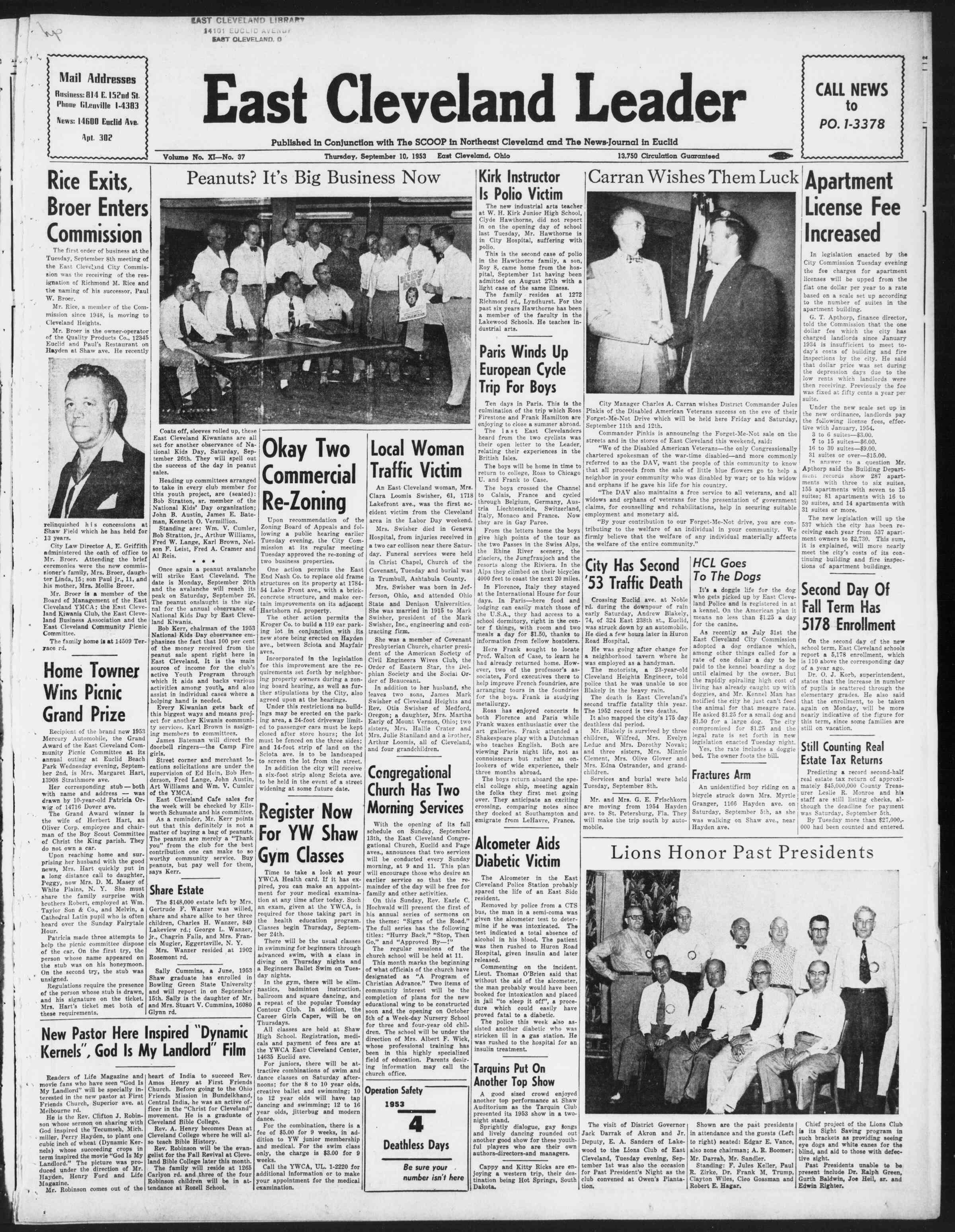 Newspaper of East Cleveland Leader dated September 10, 1953 Page 1