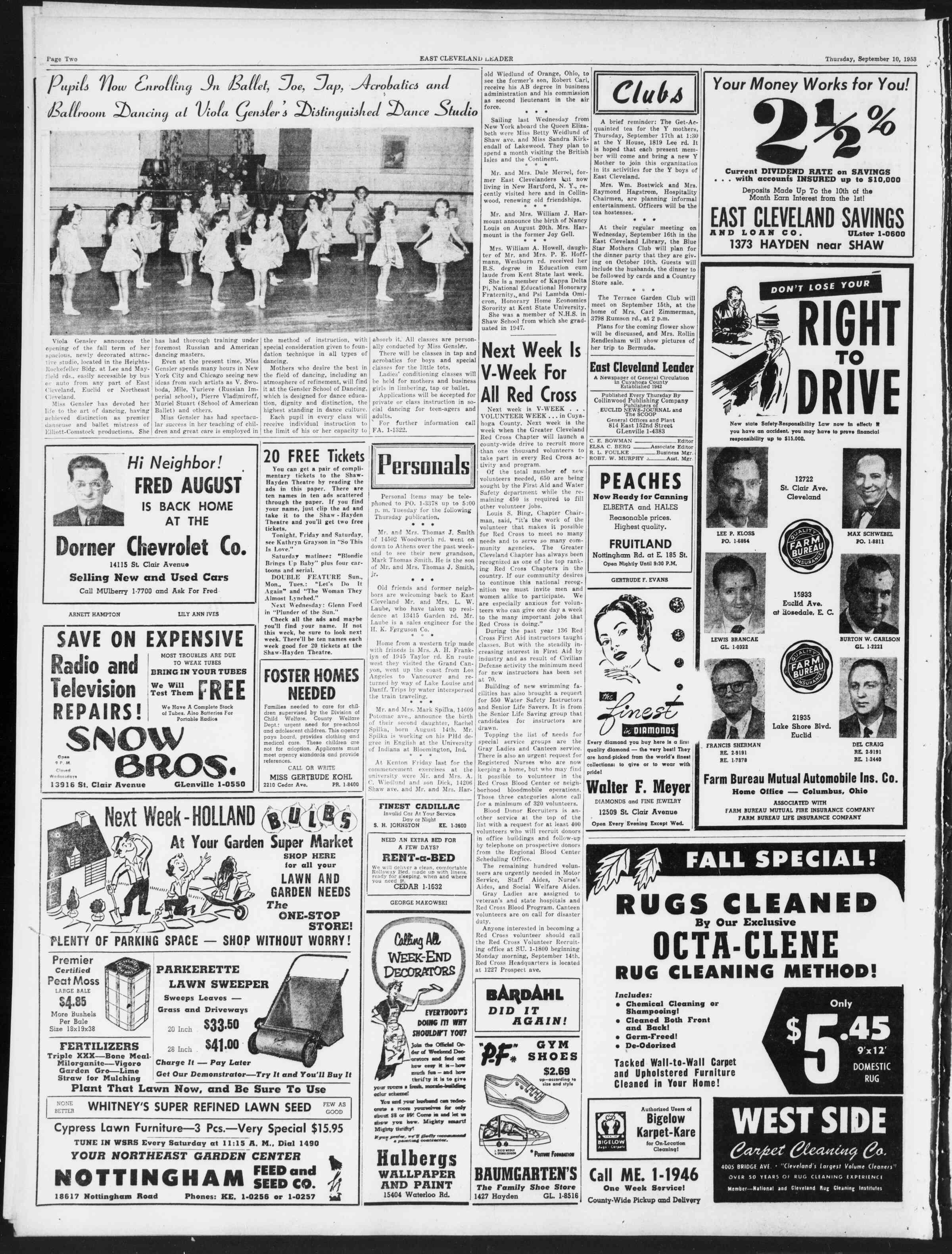 10 Eylül 1953 tarihli East Cleveland Leader Gazetesi Sayfa 2