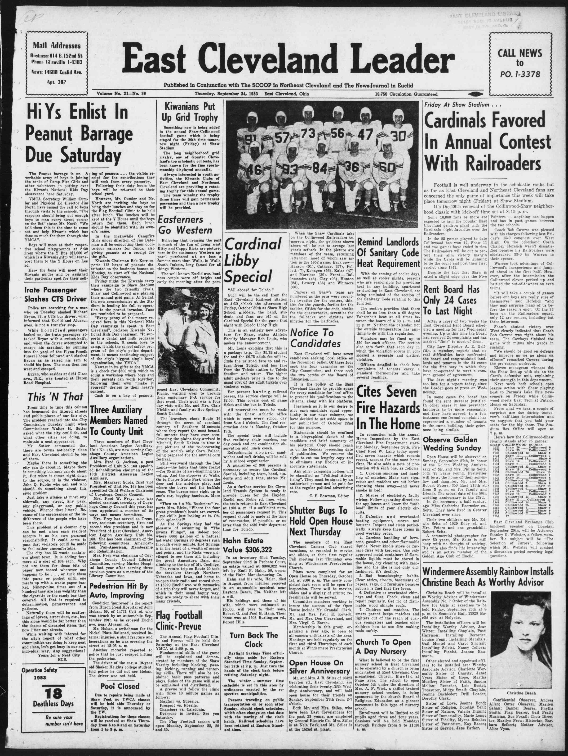 24 Eylül 1953 Tarihli East Cleveland Leader Dergisi Sayfa 1