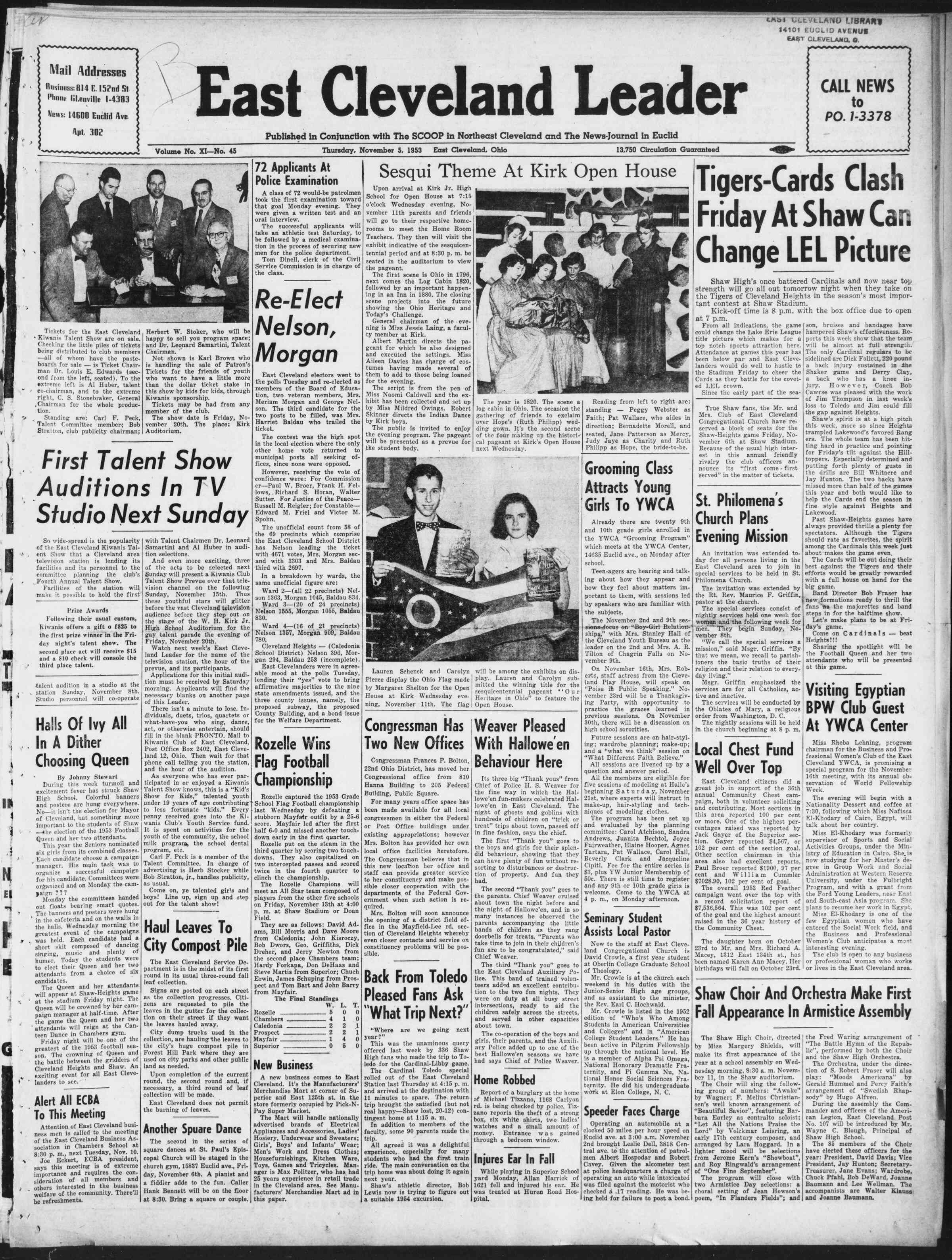 5 Kasım 1953 Tarihli East Cleveland Leader Dergisi Sayfa 1