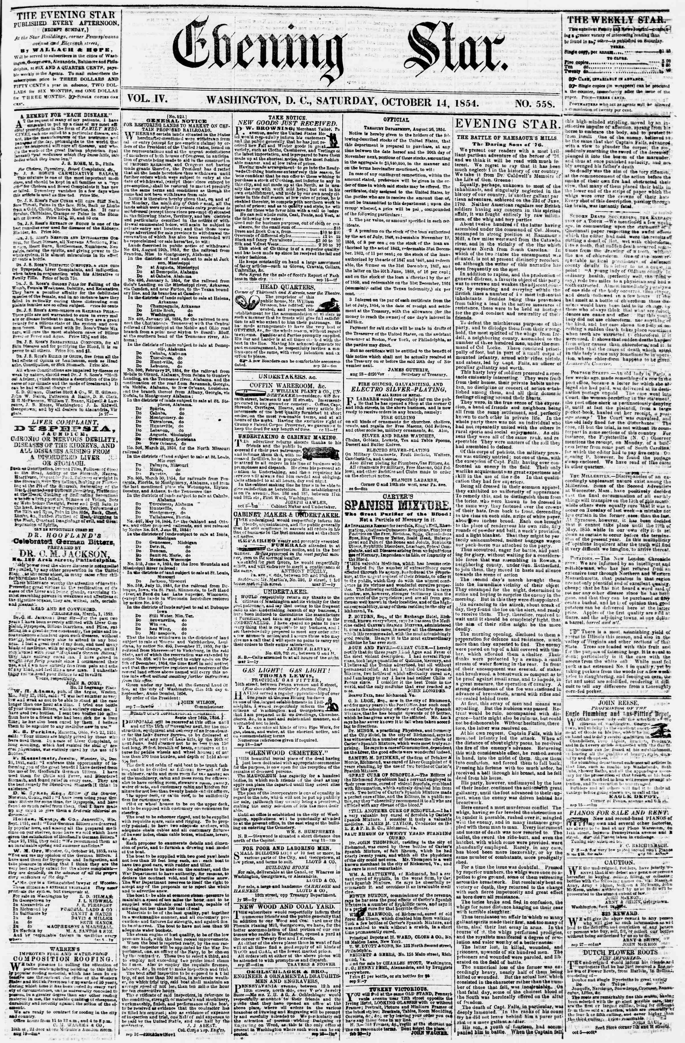 14 Ekim 1854 Tarihli Evening Star Dergisi Sayfa 1