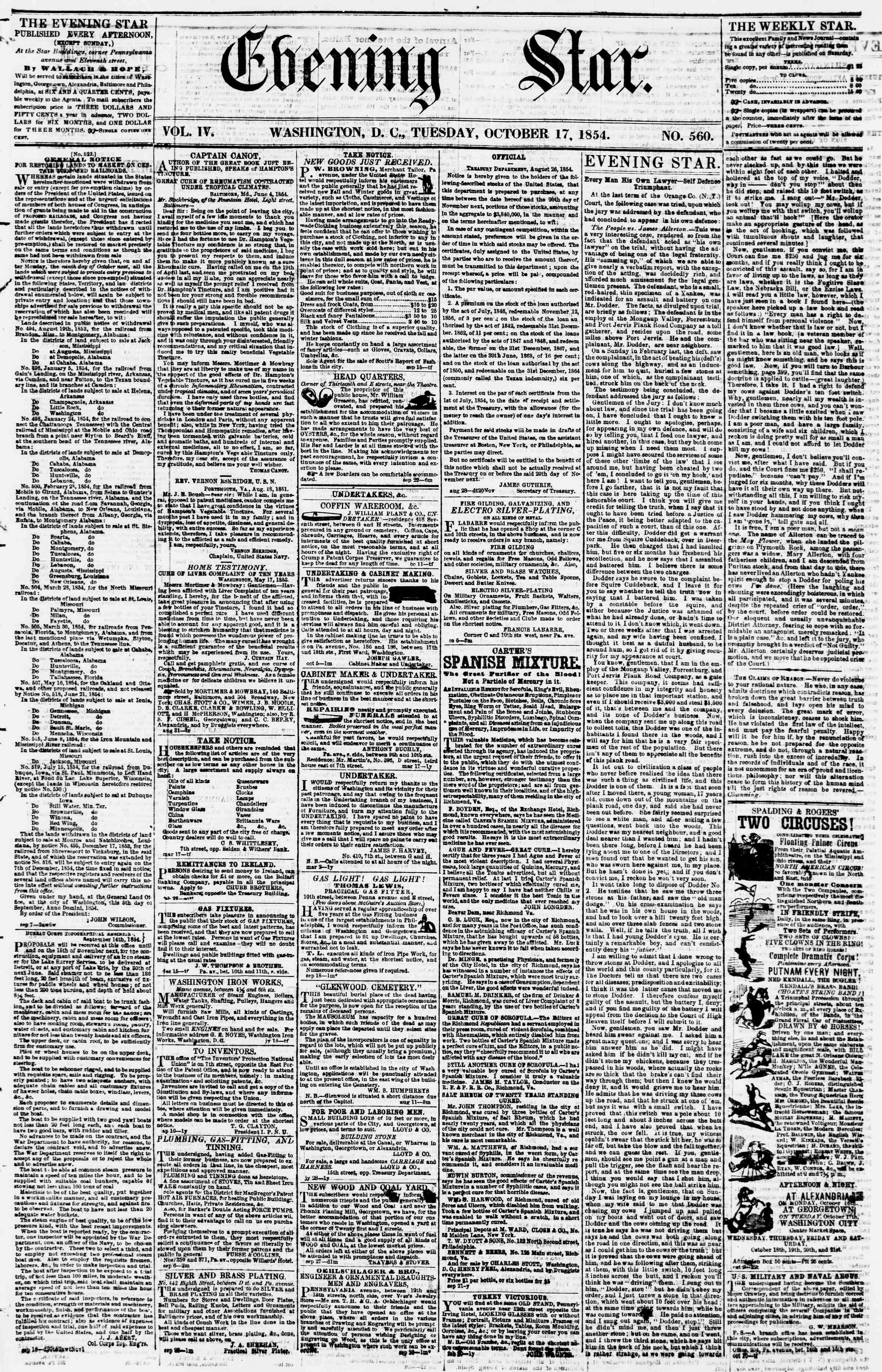 October 17, 1854 Tarihli Evening Star Dergisi Sayfa 1