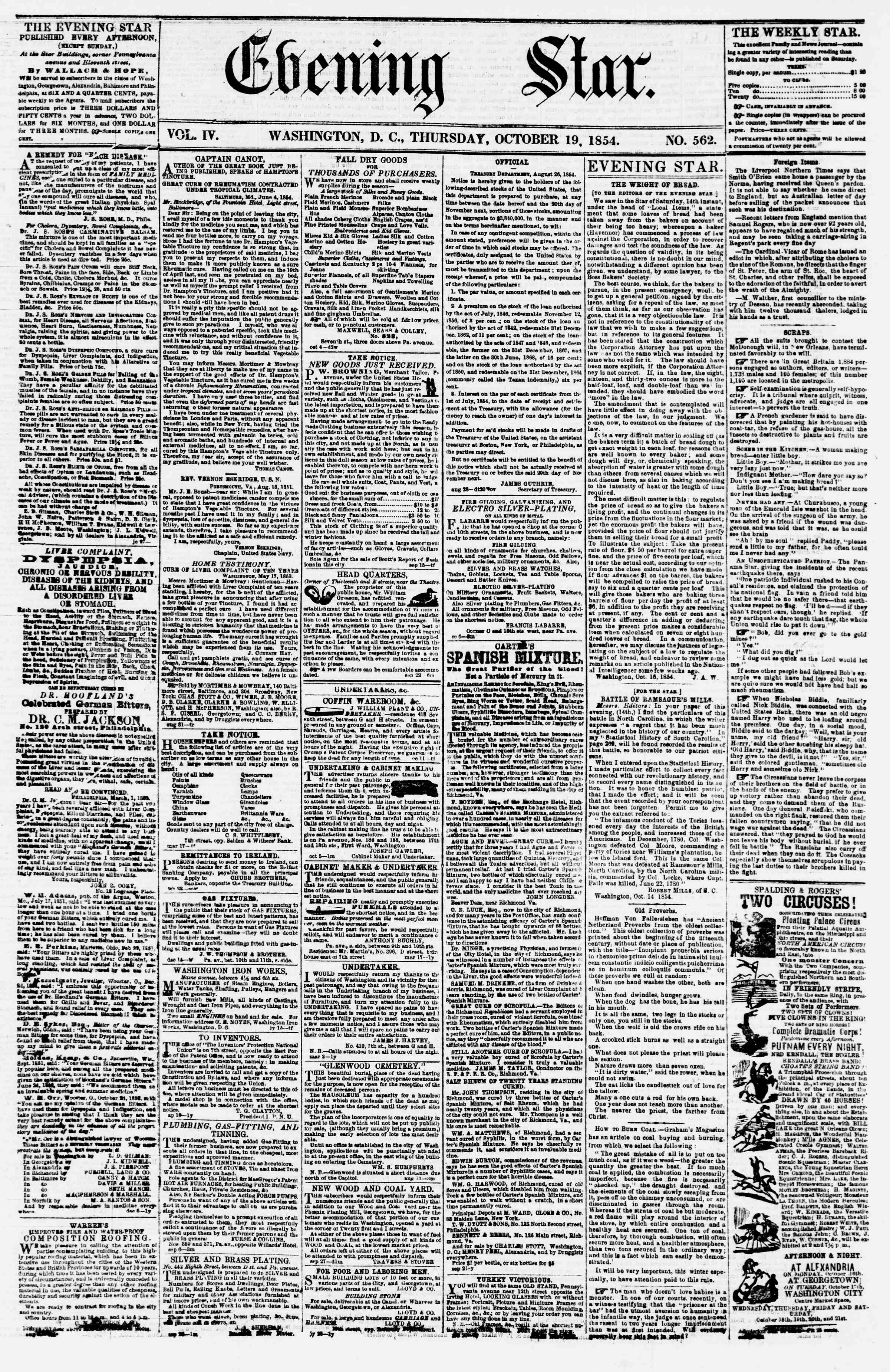 19 Ekim 1854 Tarihli Evening Star Dergisi Sayfa 1